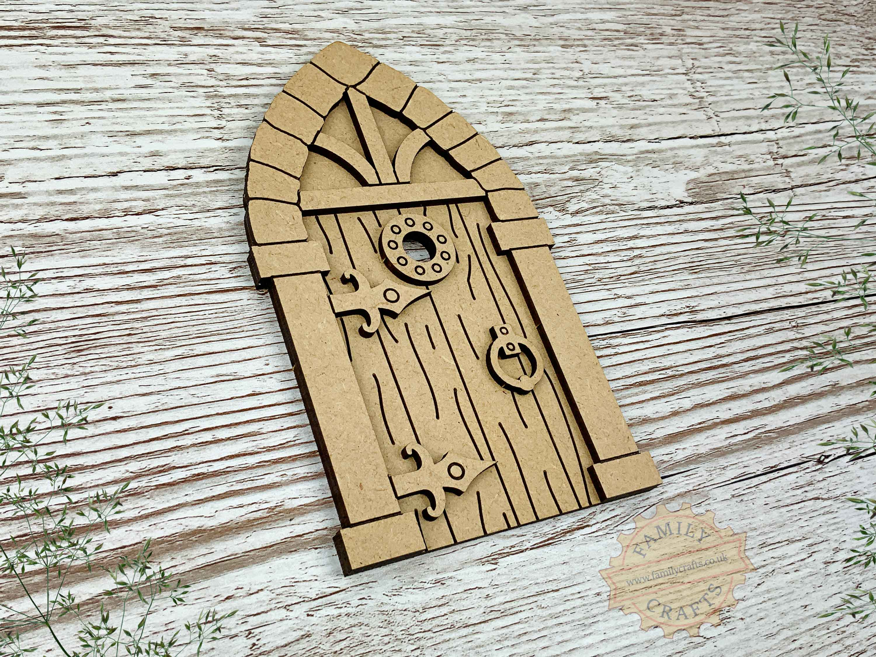medieval fairy door kit with woodgrain mdf view left