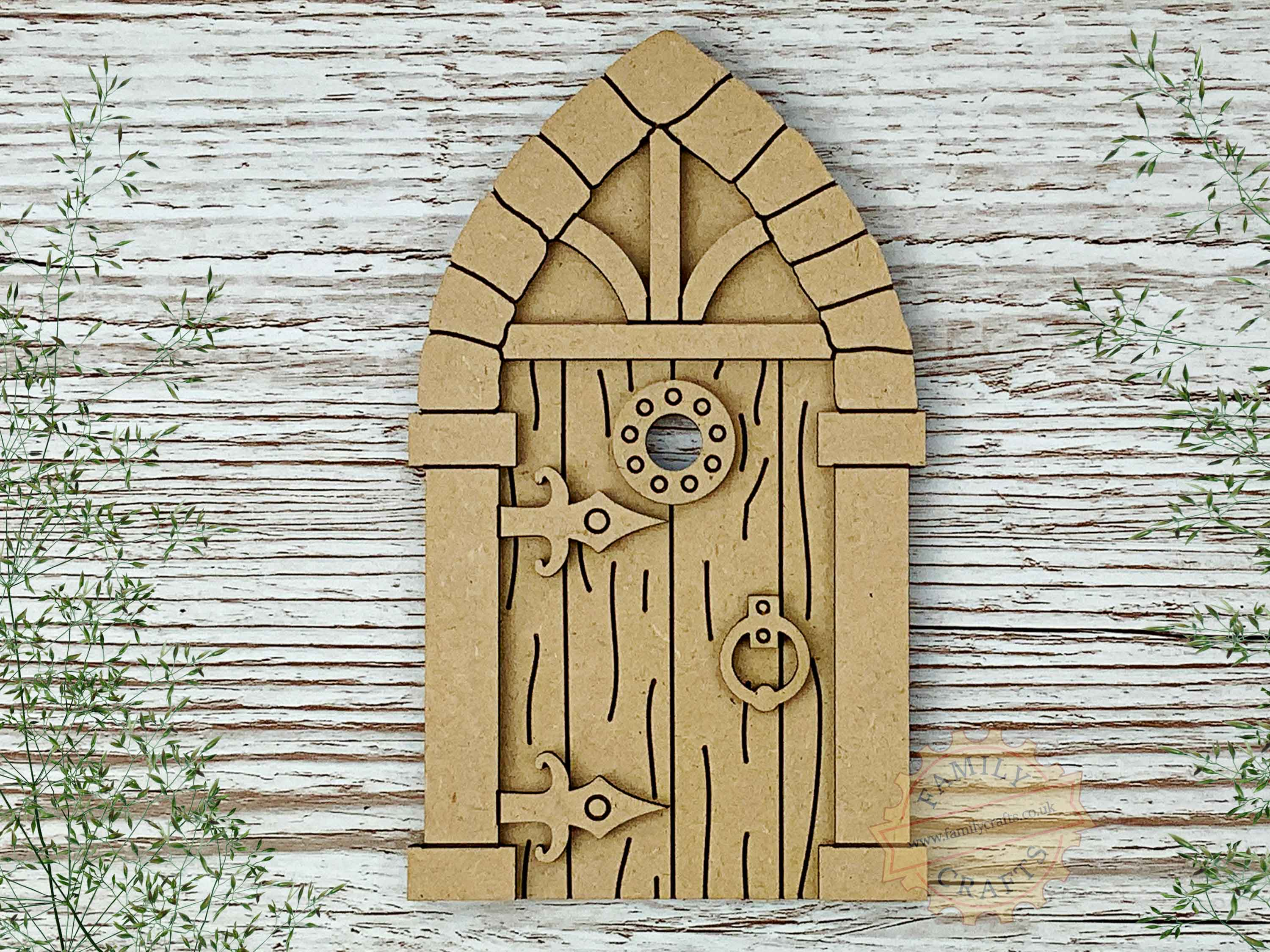 medieval fairy door kit with woodgrain mdf view top