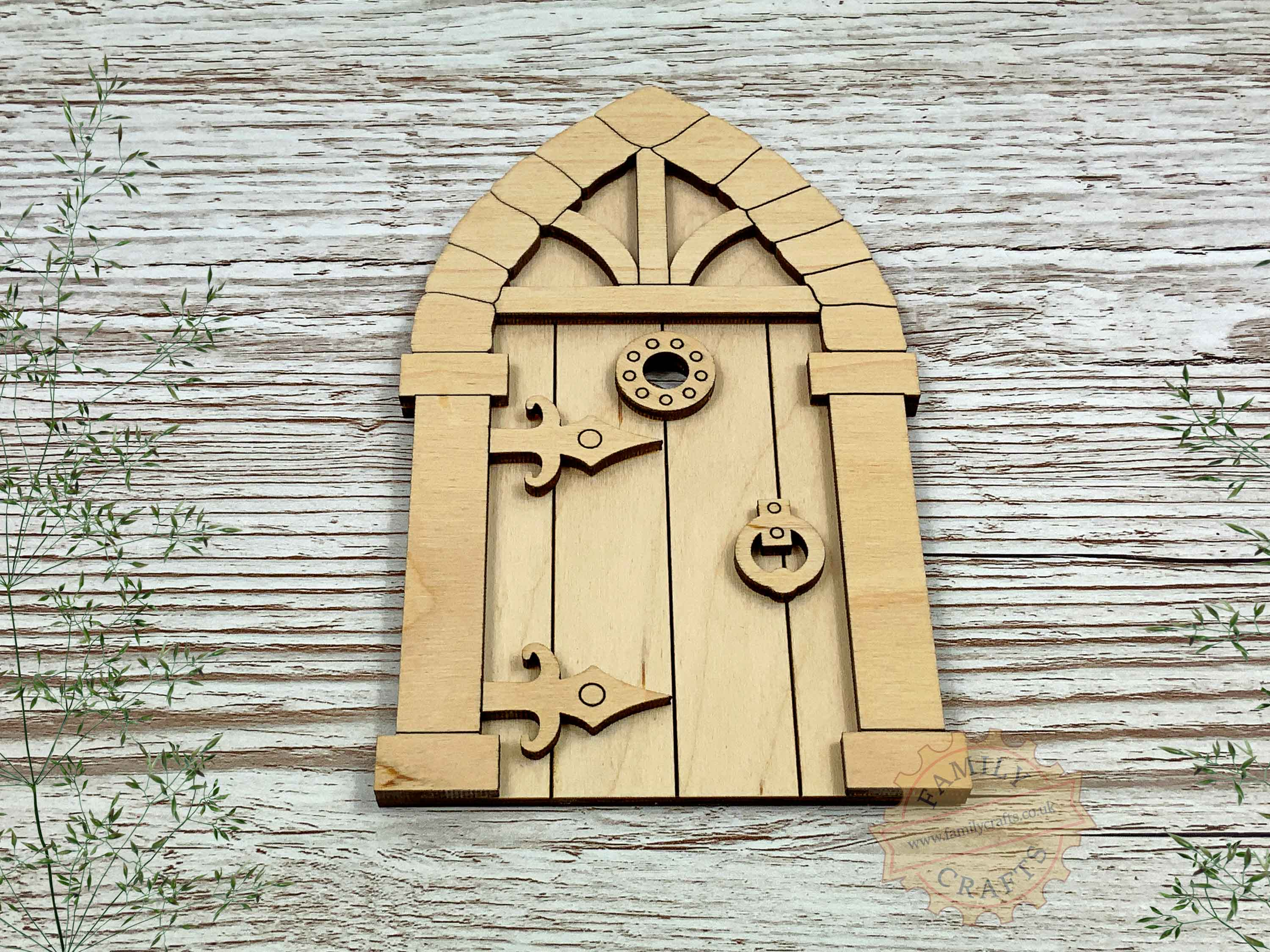 plywood medieval fairy door kit view front
