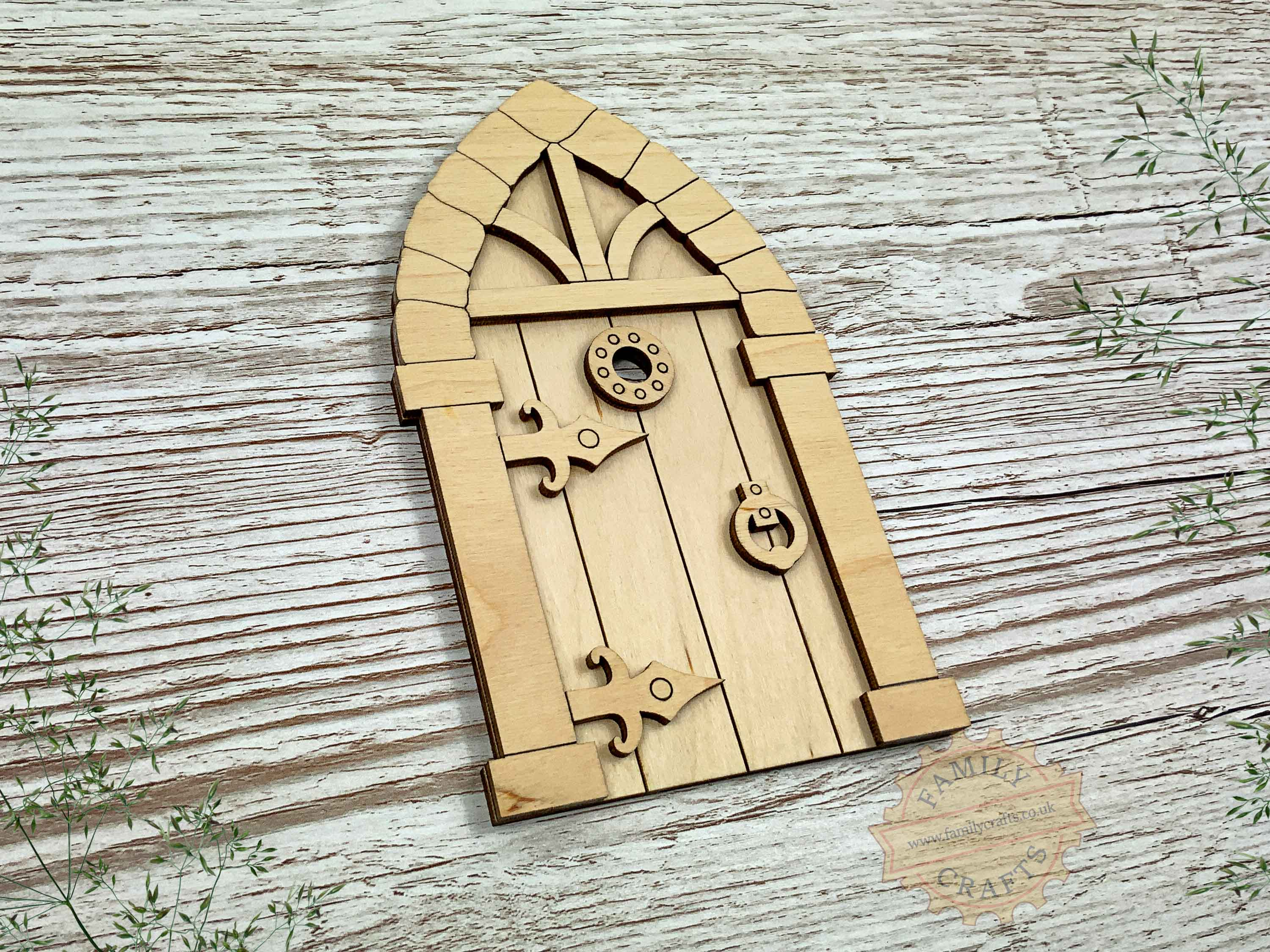 plywood medieval fairy door kit view left