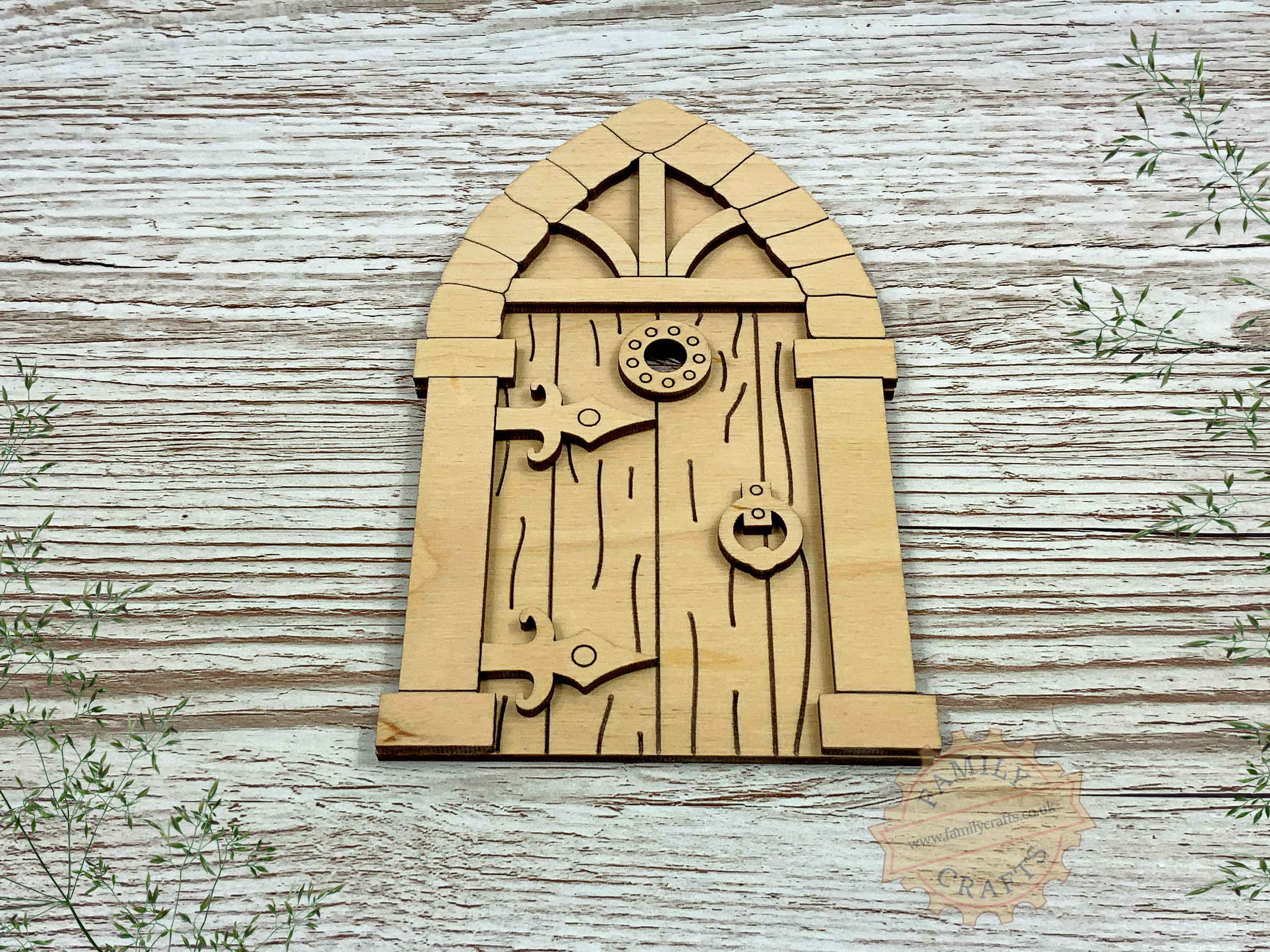 plywood medieval fairy door kit with woodgrain view front