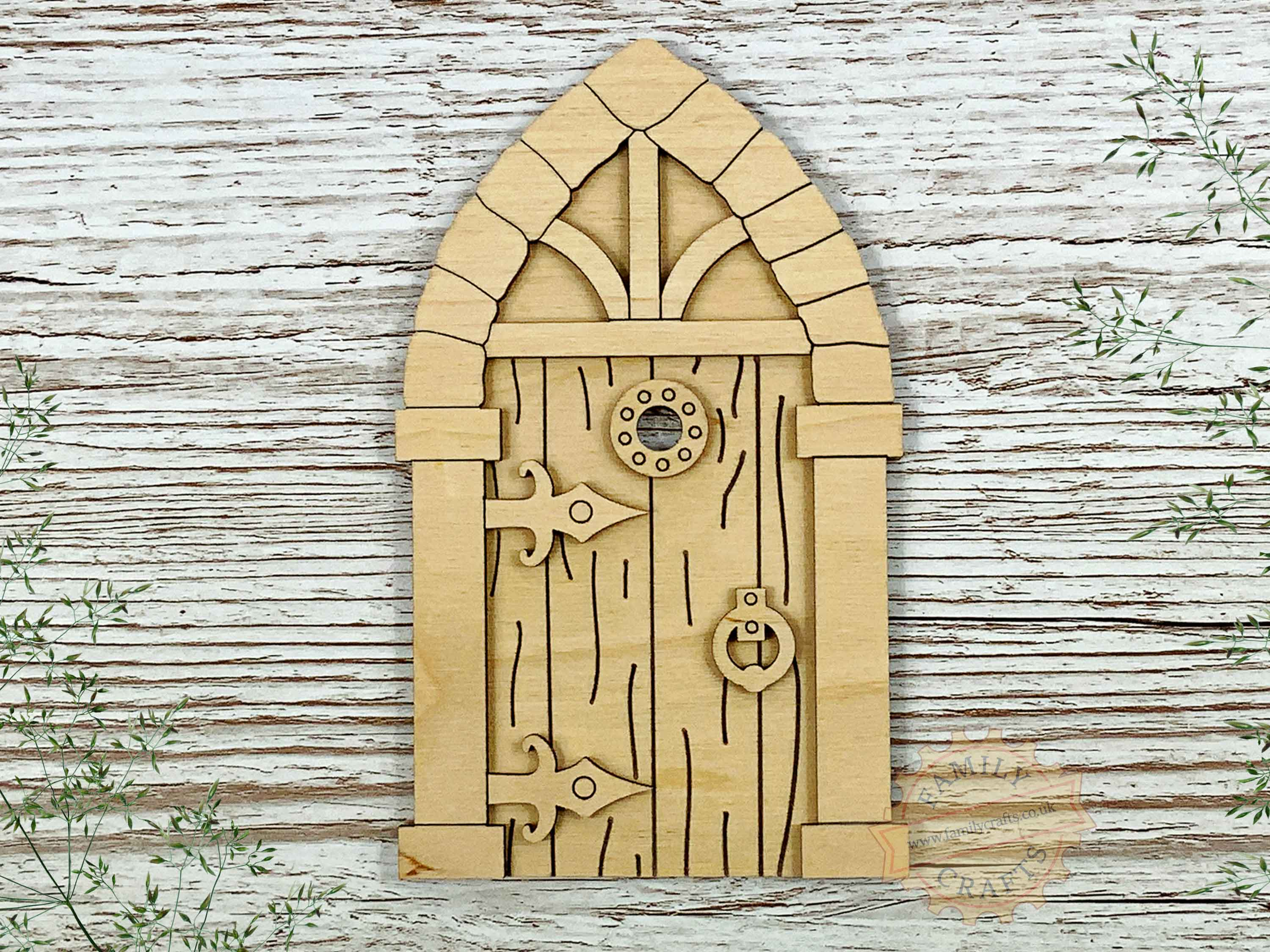 plywood medieval fairy door kit with woodgrain