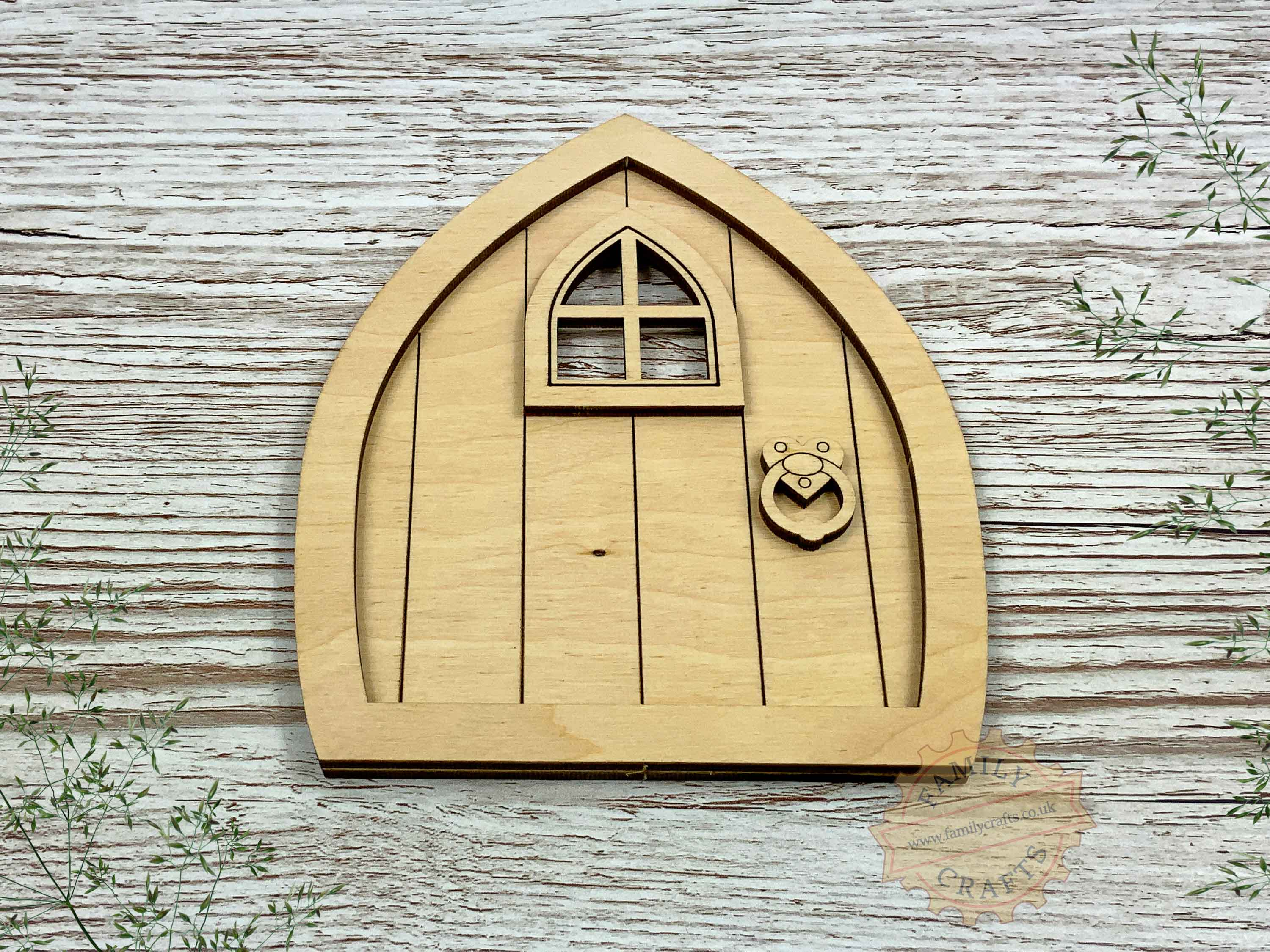 plywood pointed fairy door kit view front
