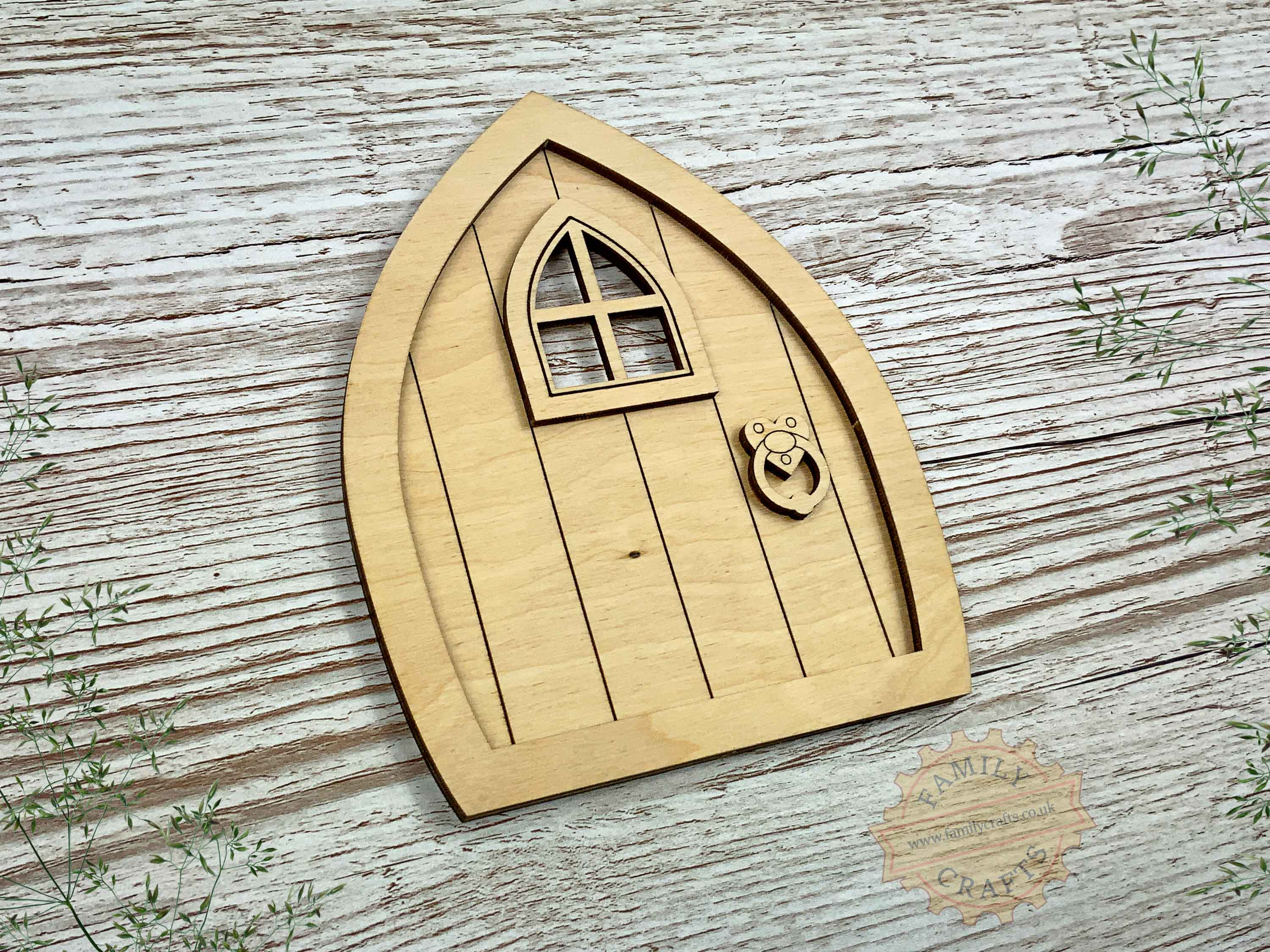 plywood pointed fairy door kit view left