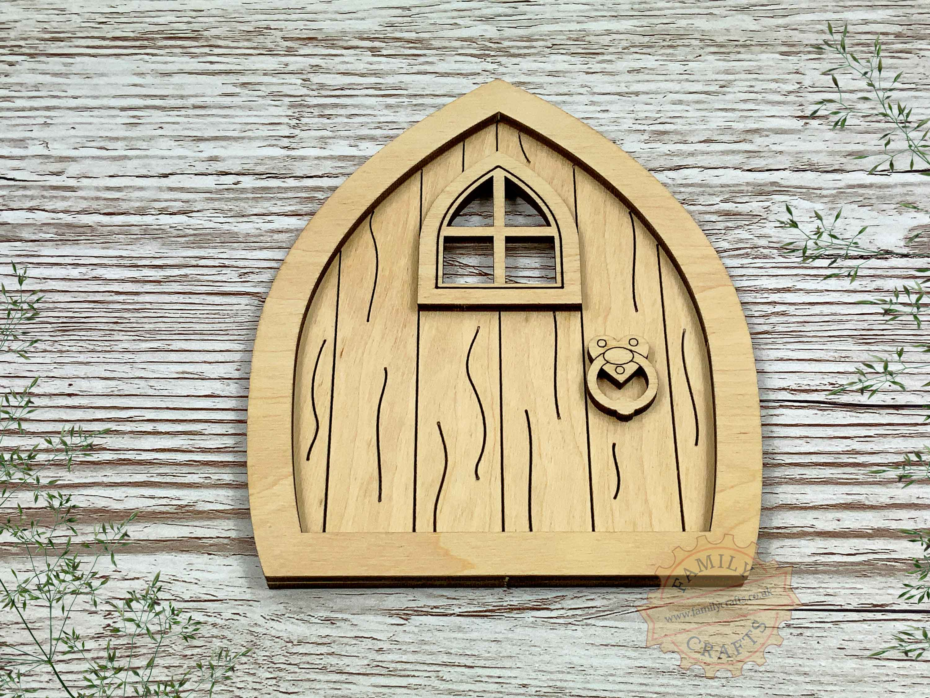 plywood pointed fairy door kit with woodgrain view front