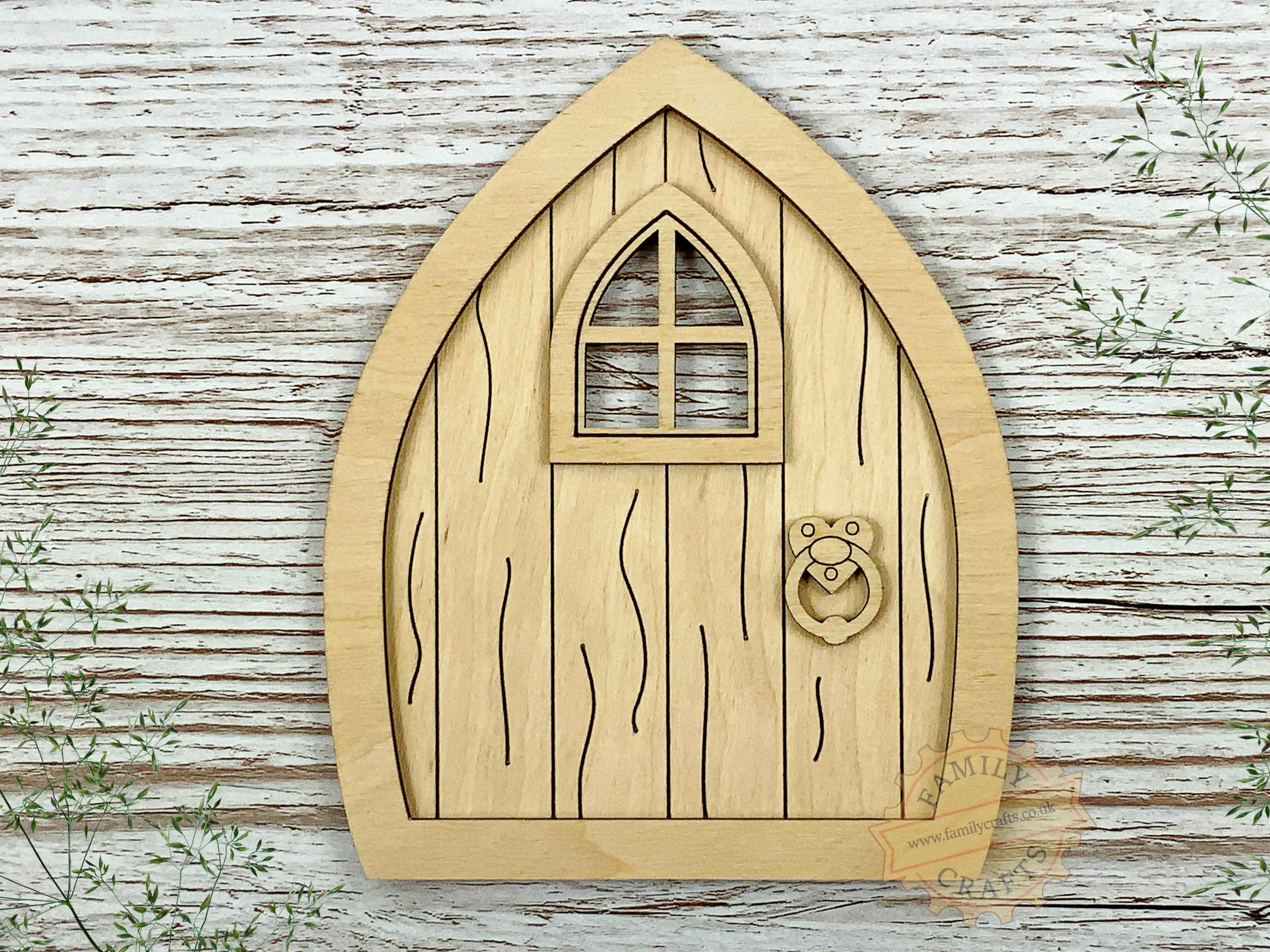 plywood pointed fairy door kit with woodgrain