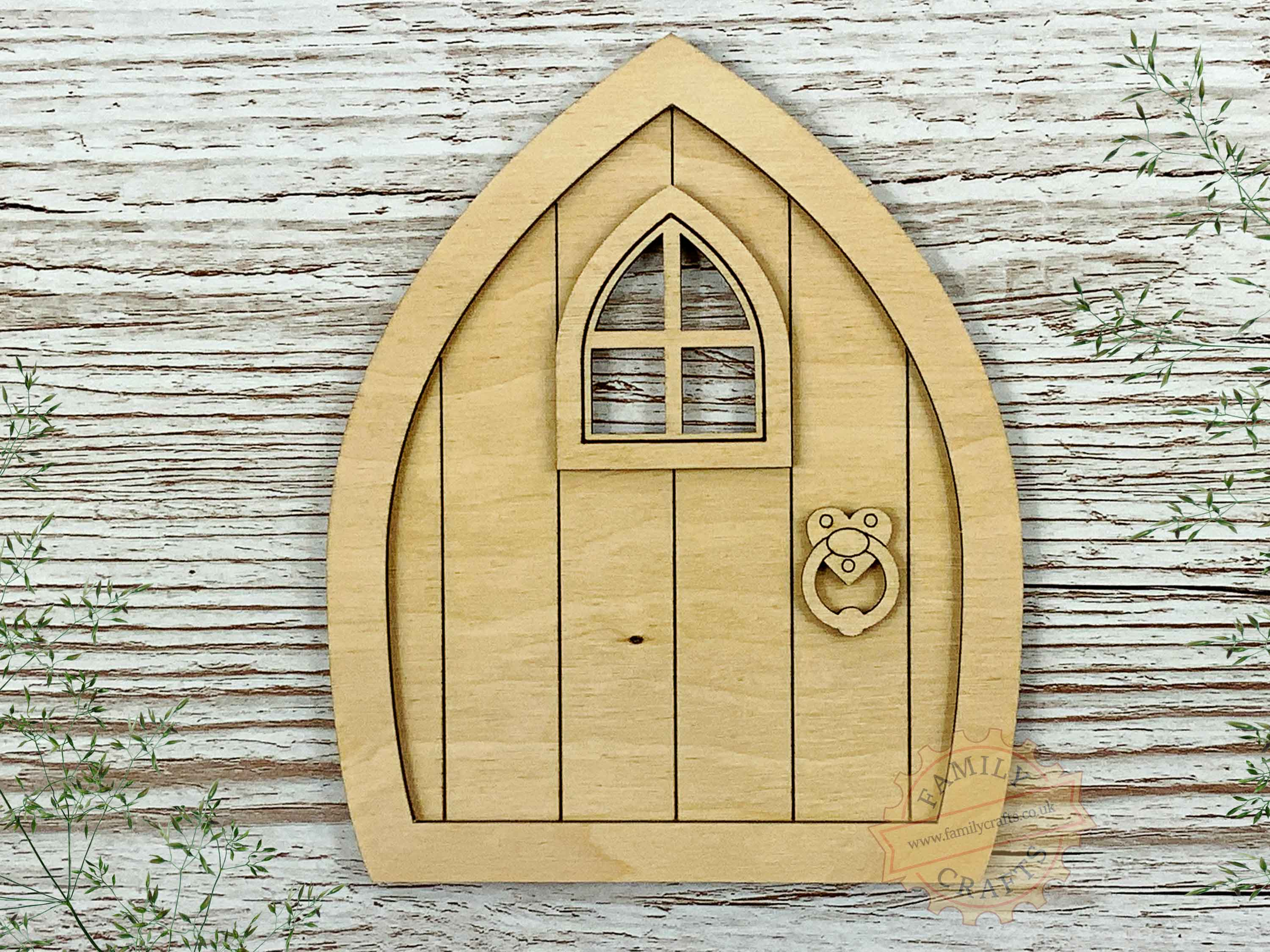 plywood pointed fairy door kit