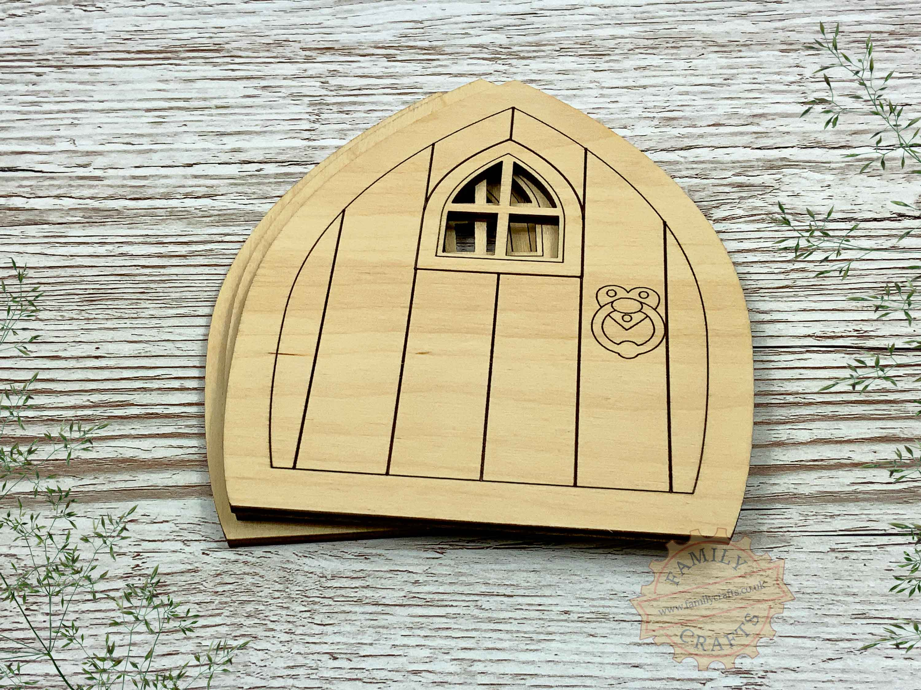 plywood pointed fairy door pack view front