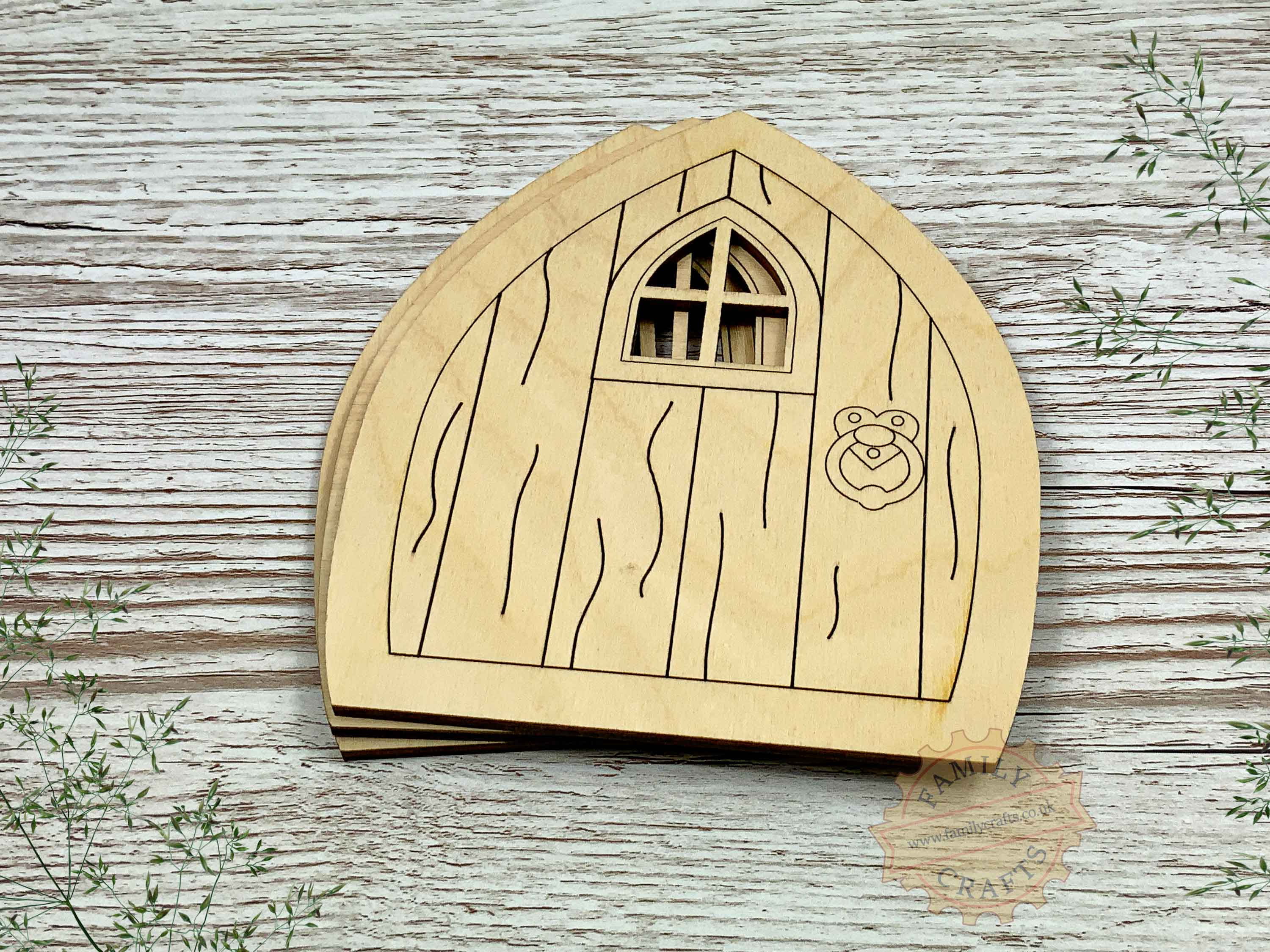 plywood pointed fairy door pack with woodgrain view front