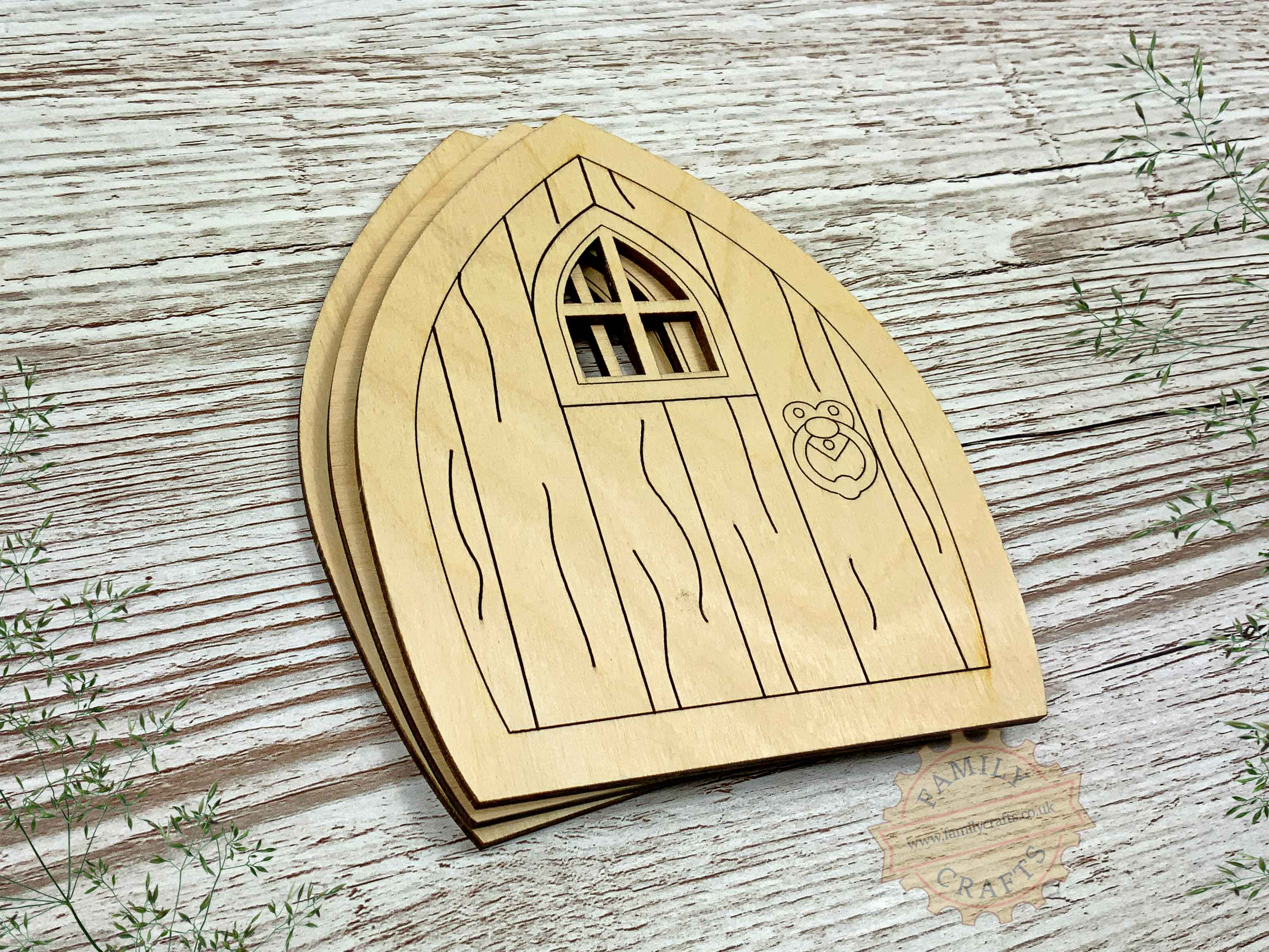 plywood pointed fairy door pack with woodgrain  view left