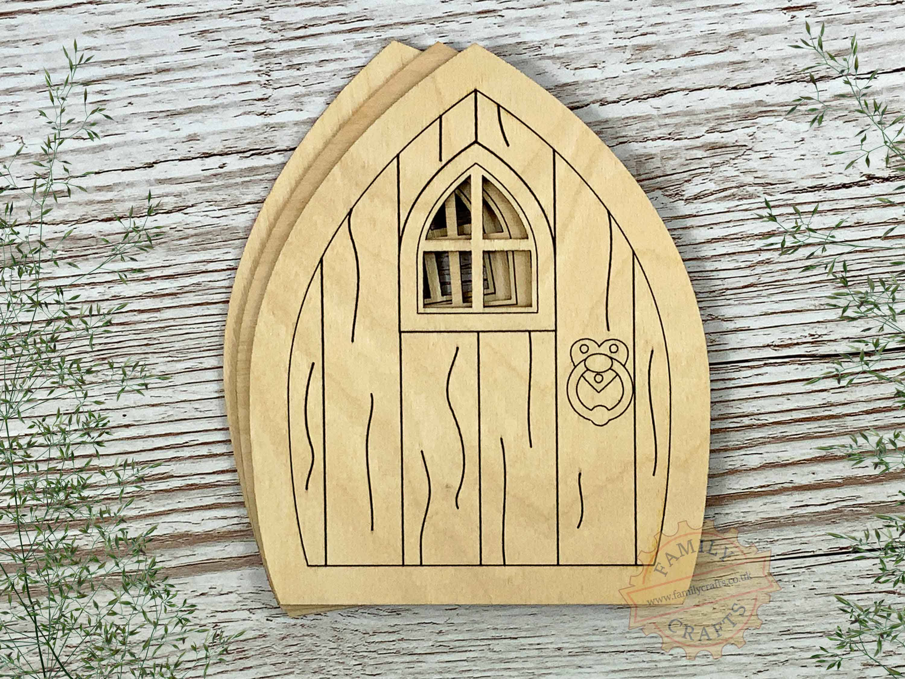 plywood pointed fairy door pack with woodgrain