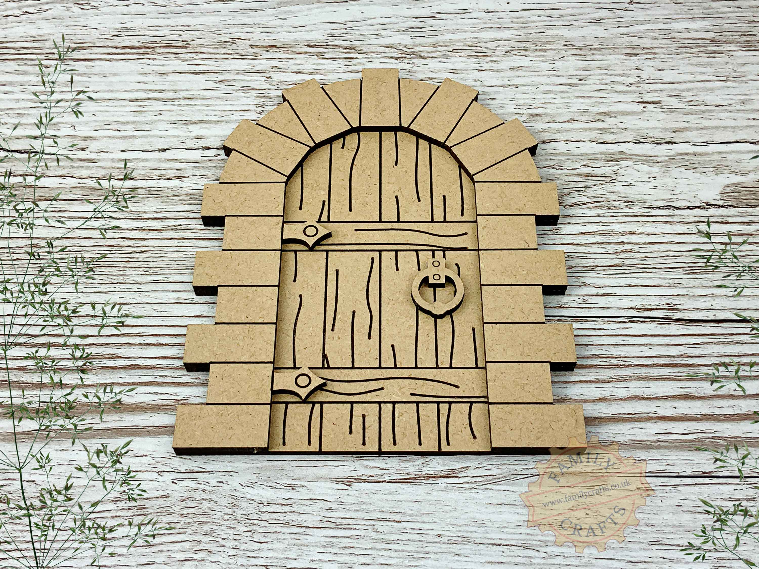 stone fairy door kit with woodgrain mdf view front