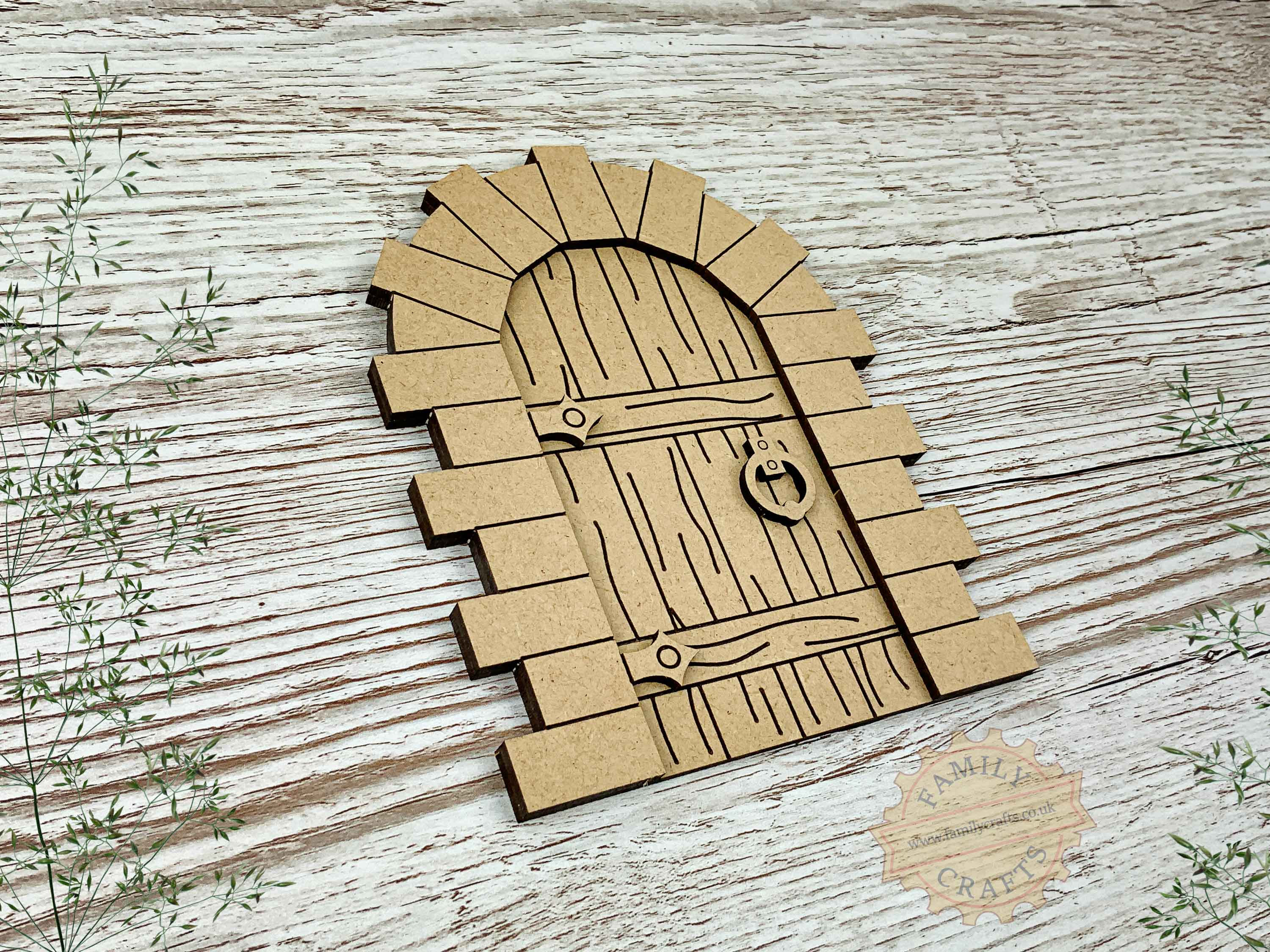 stone fairy door kit with woodgrain mdf view left
