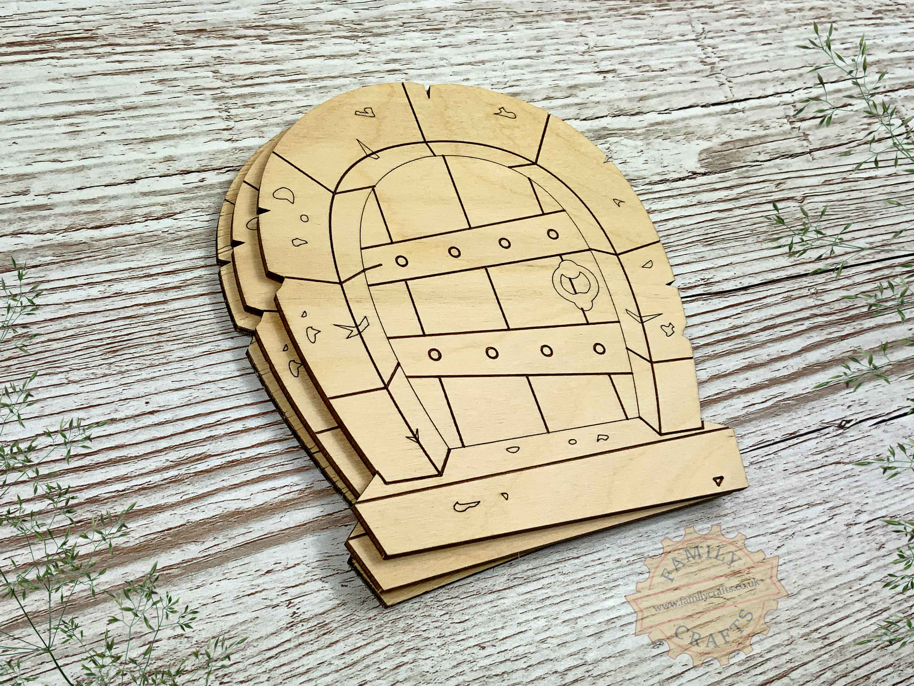 plywood stone arch fairy door pack view left