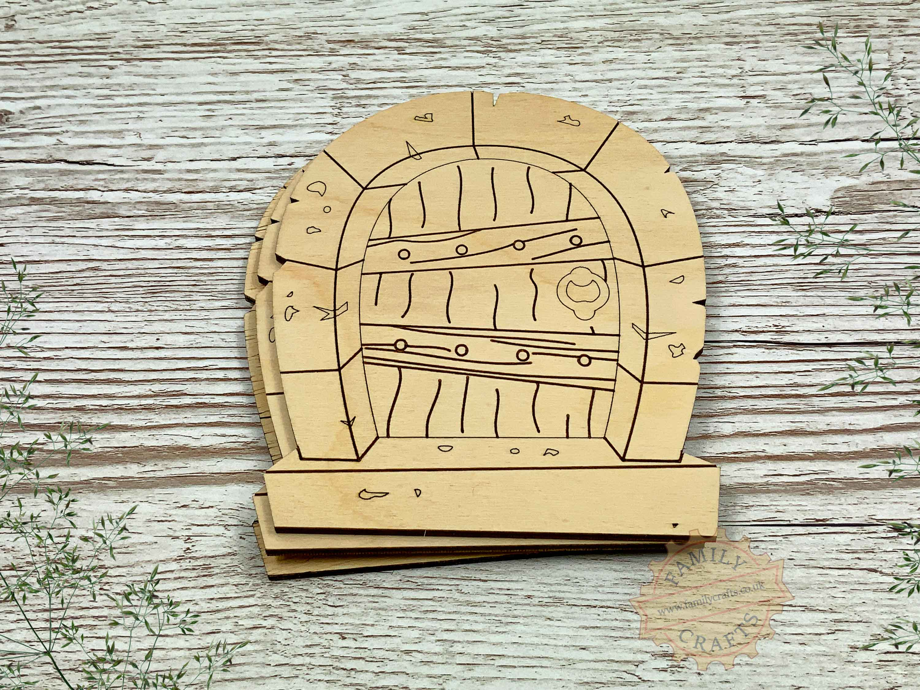 plywood stone arch fairy door pack with woodgrain view front
