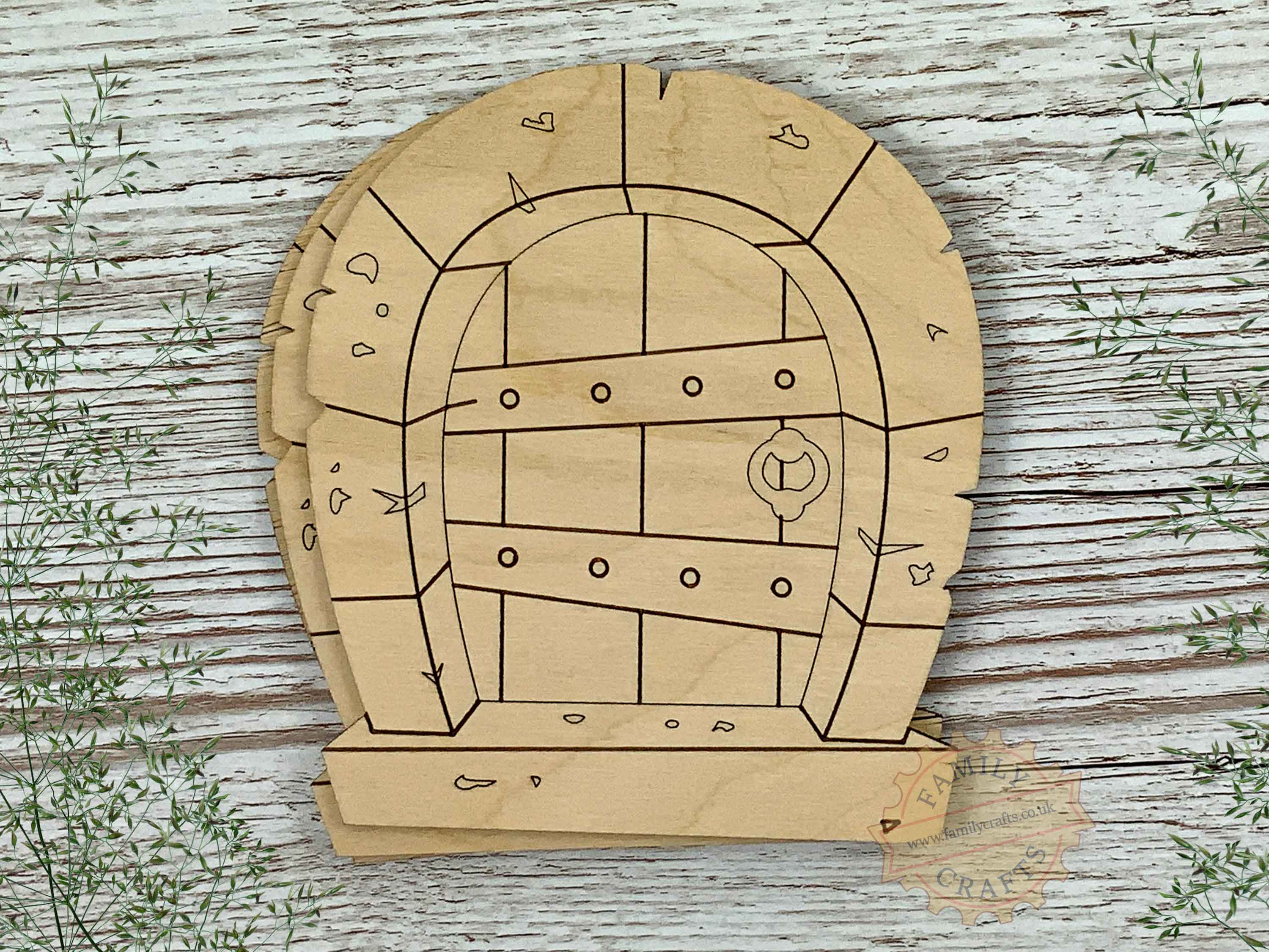 plywood stone arch fairy door pack