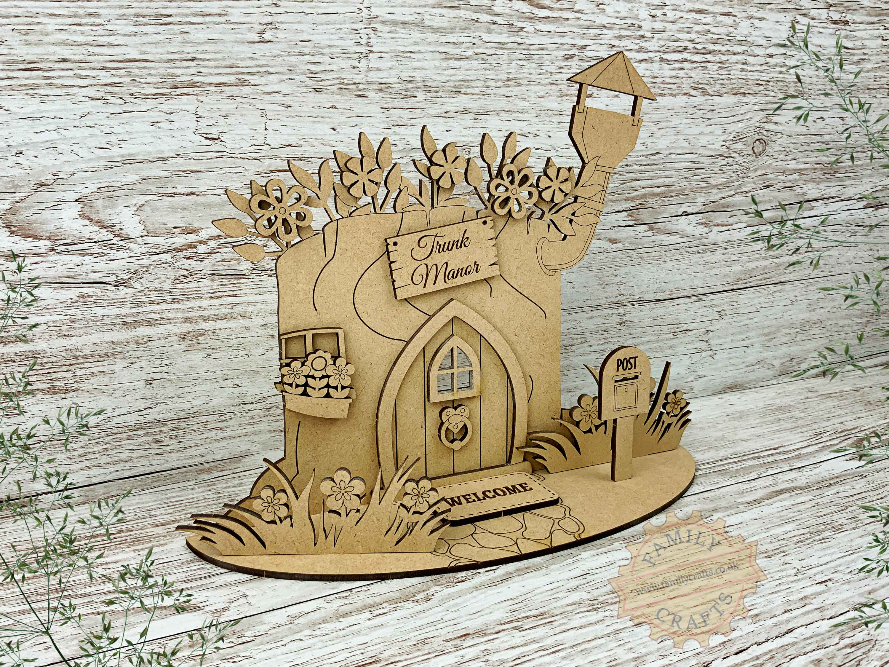 tree stump fairy house garden kit view left