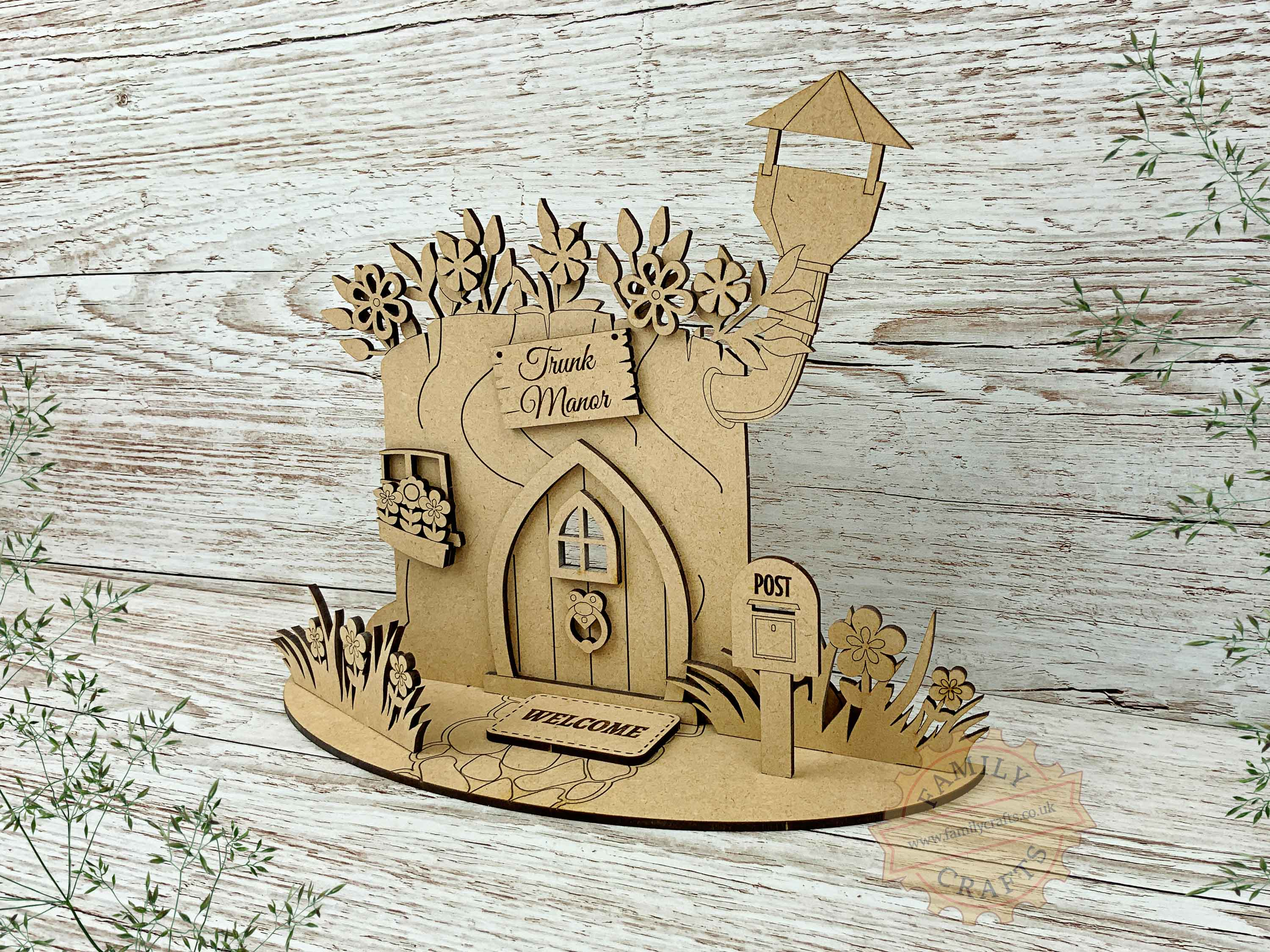 tree stump fairy house garden kit view right