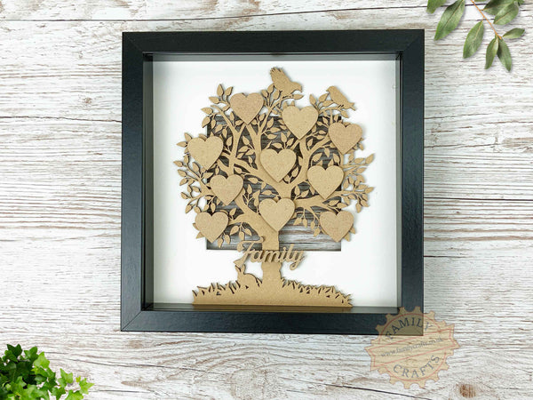 family tree with birds and rabbit in boxframe