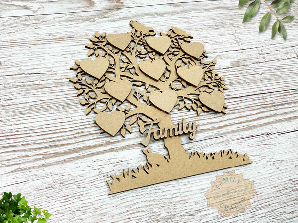 family tree with birds and rabbit view left