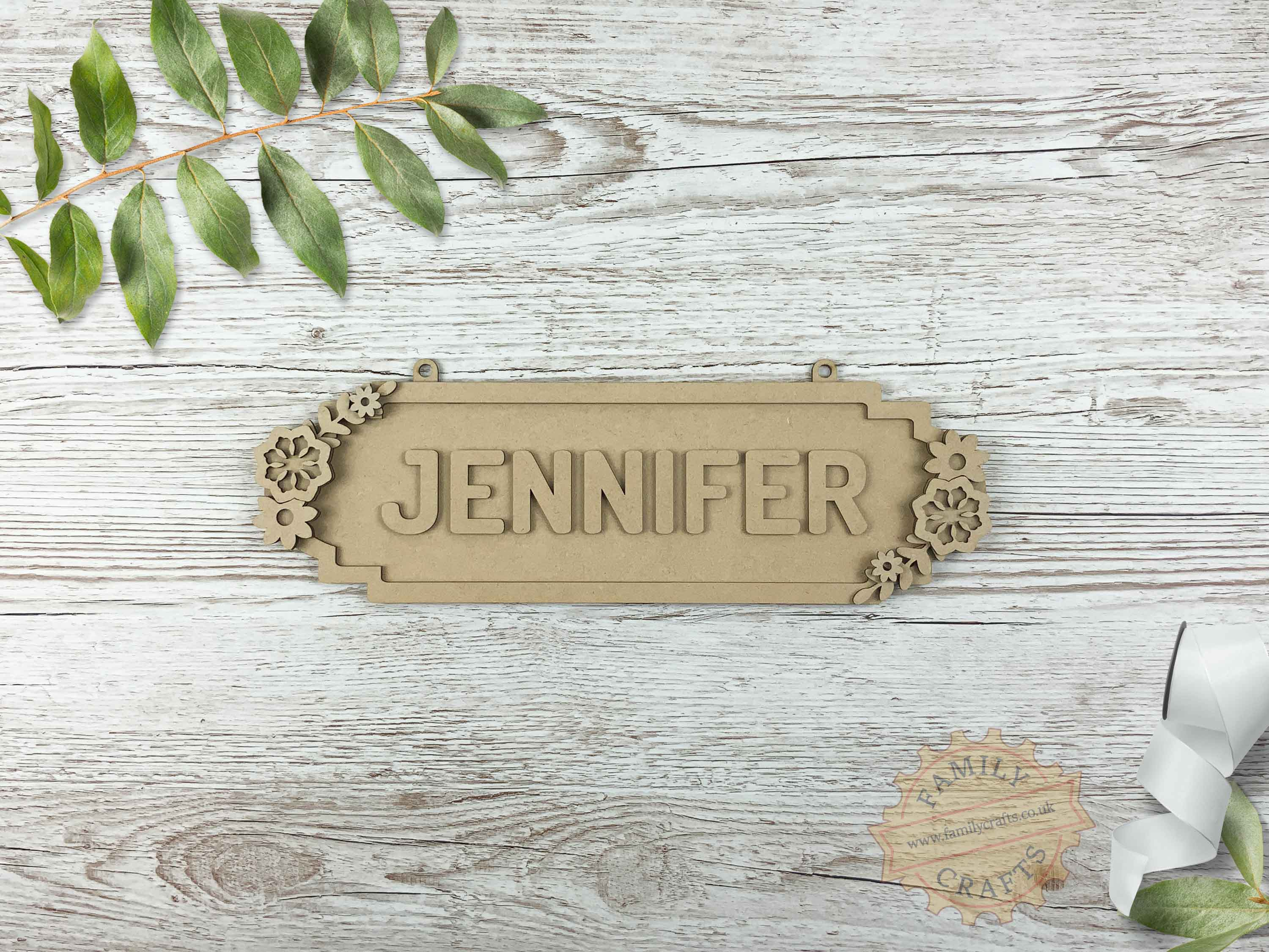 Floral Themed Name Sign 8 Characters