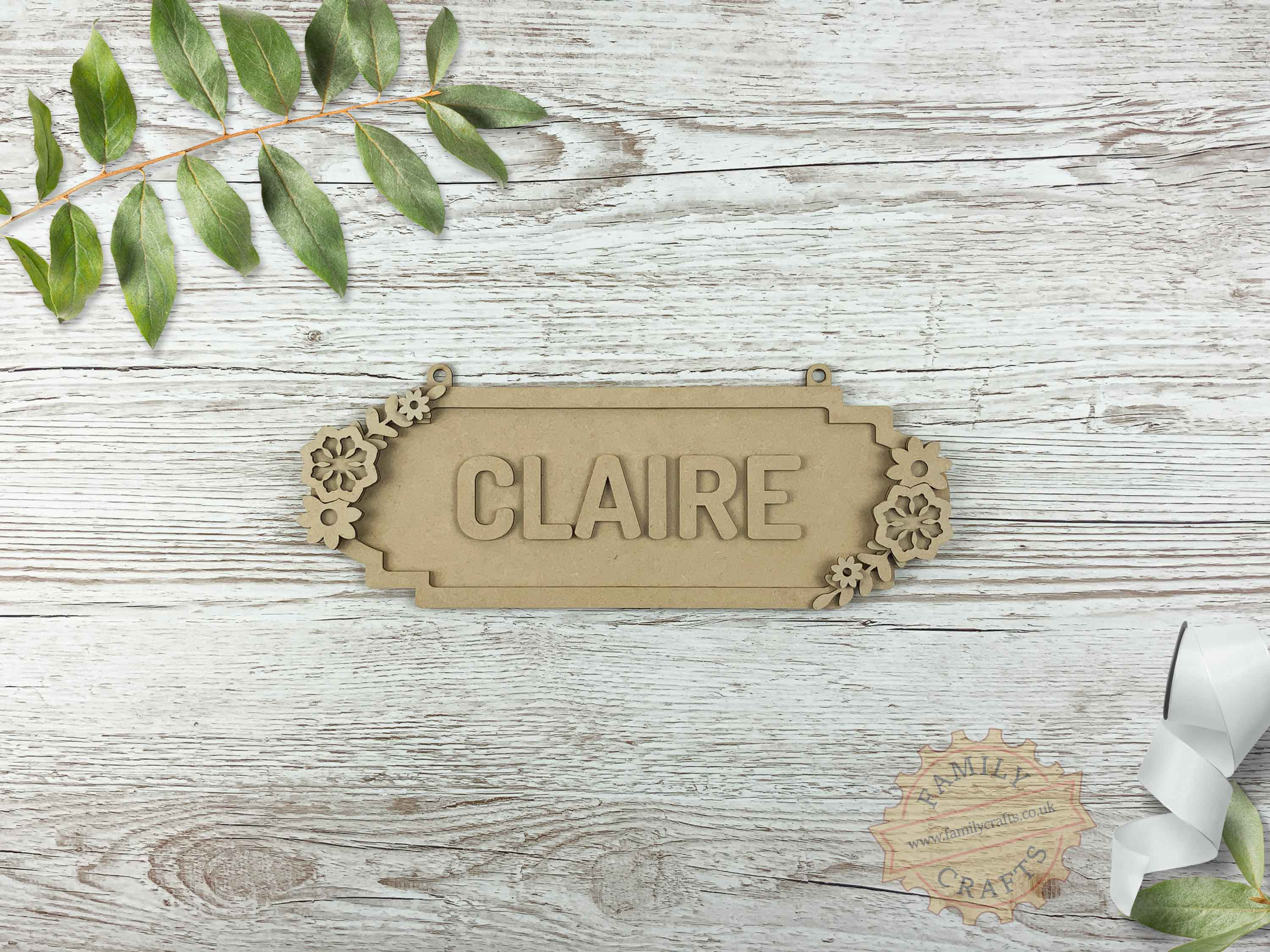 Floral Themed Name Sign 6 Characters