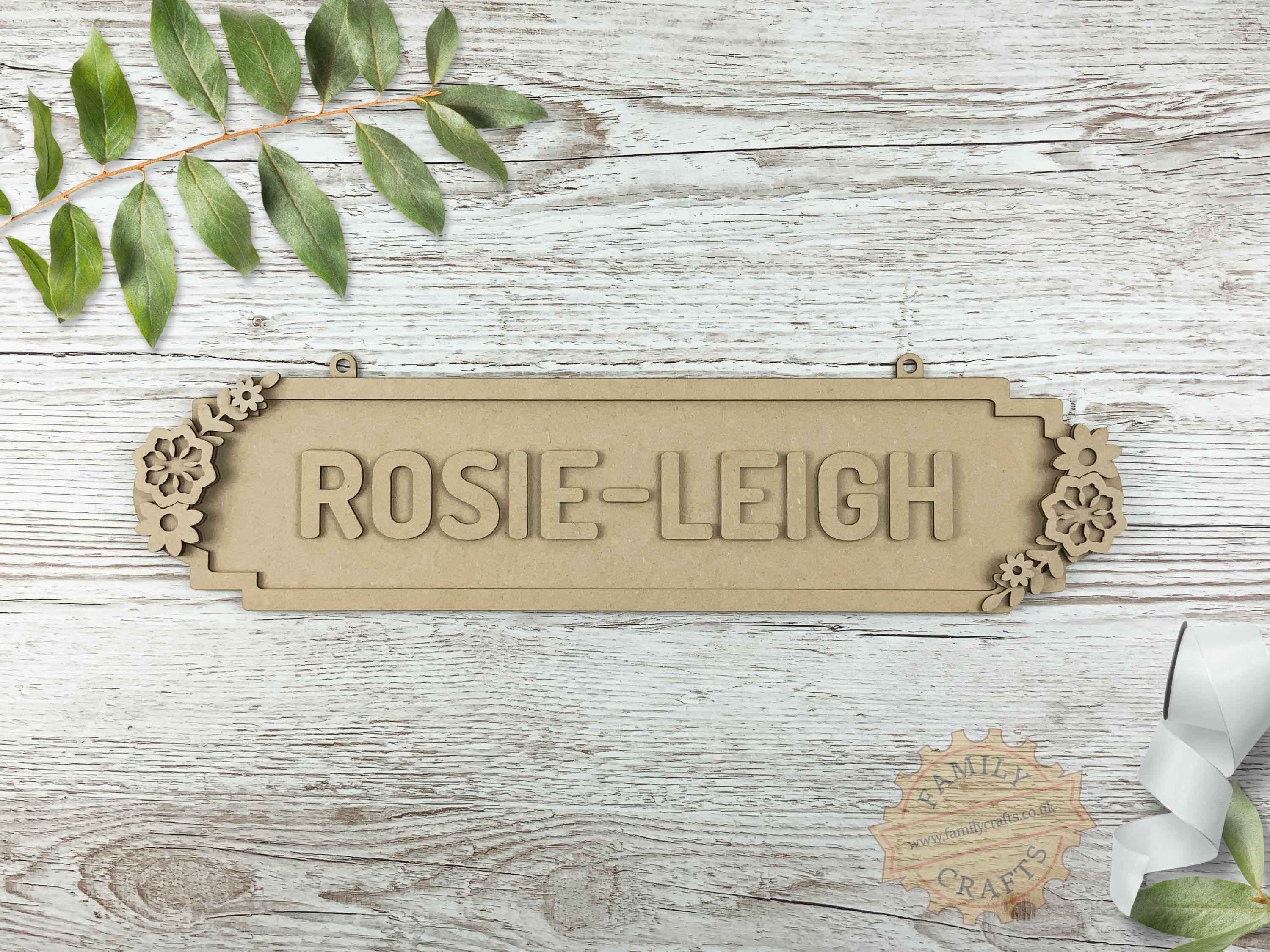 Floral Themed Name Sign 12 Characters