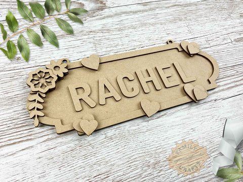 Heart and Floral Name Sign 6 Characters View Left