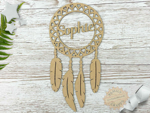 Heart Dream Catcher Ring with Name and Feathers