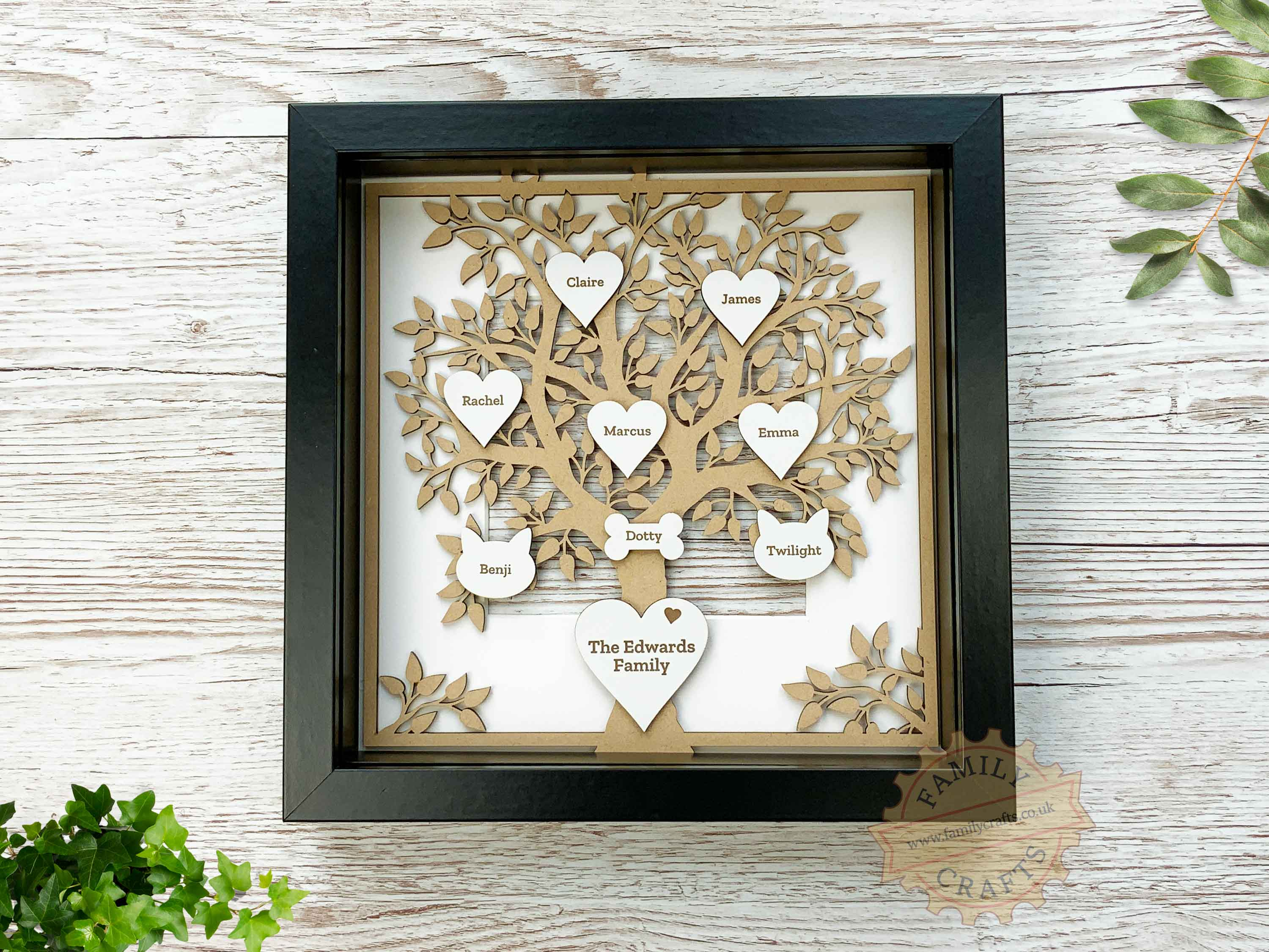 personalised family tree with engraved hearts in box frame