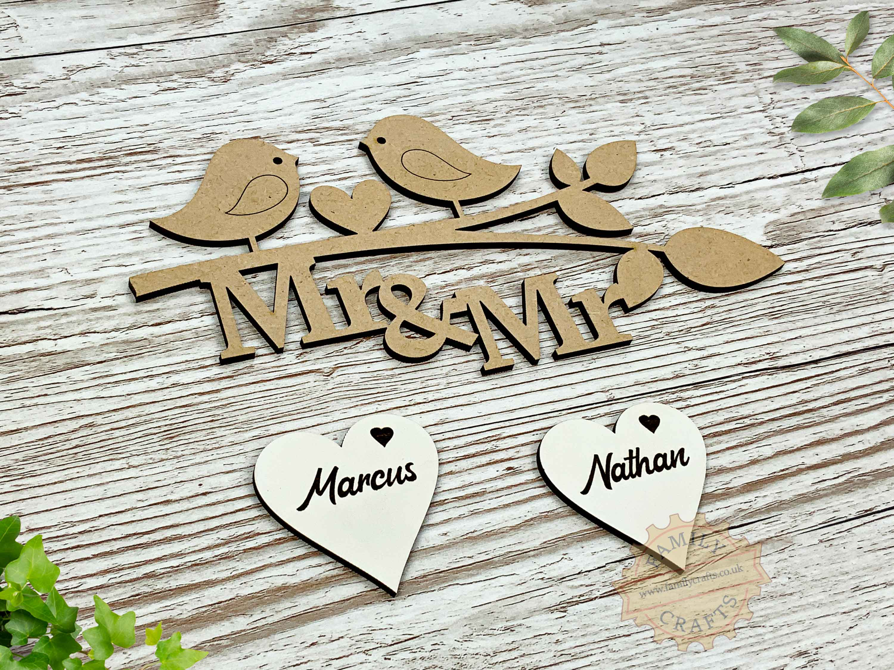 love birds mr and mr personalised branch view left script font