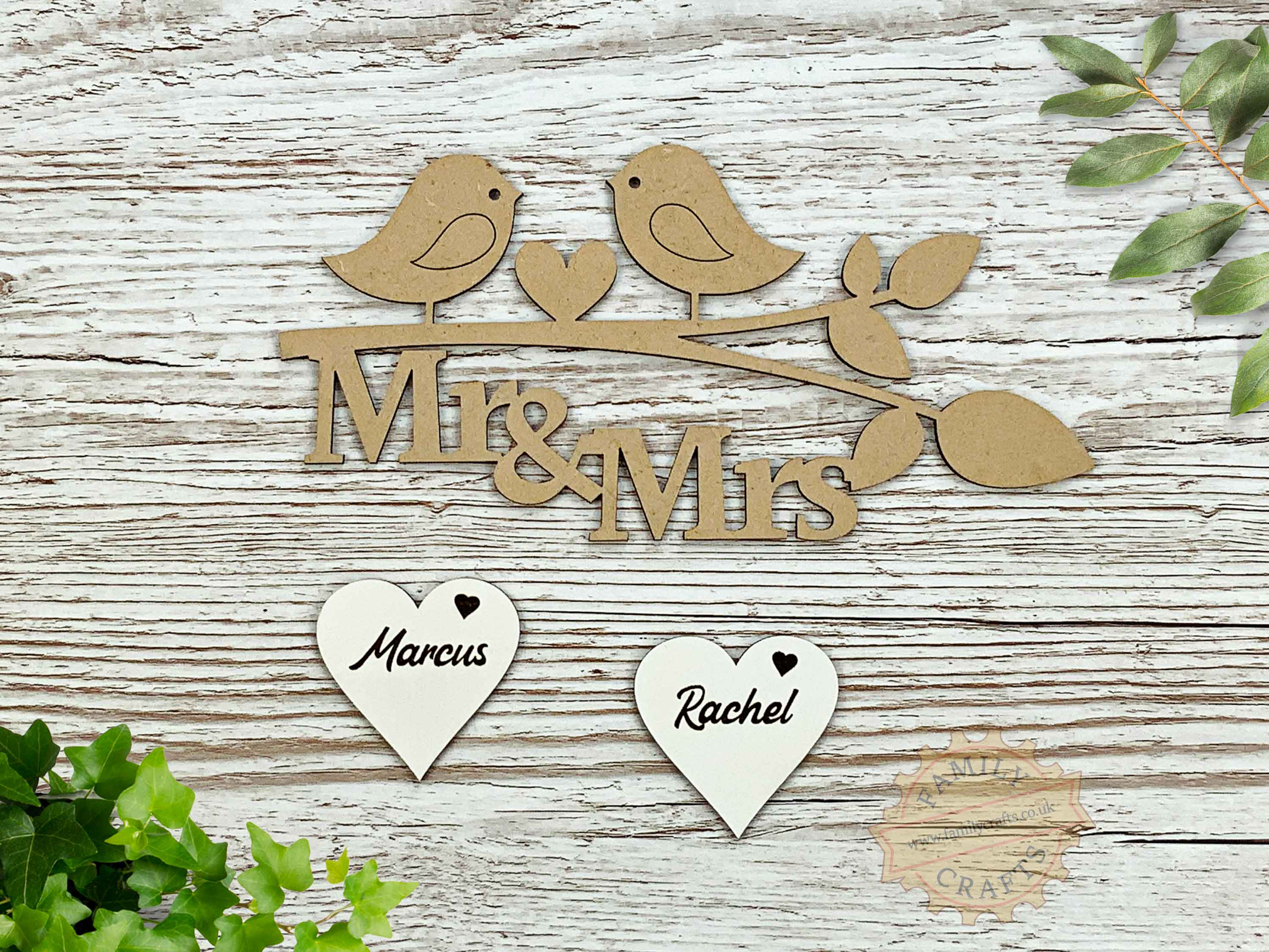 love birds mr and mrs personalised branch script font