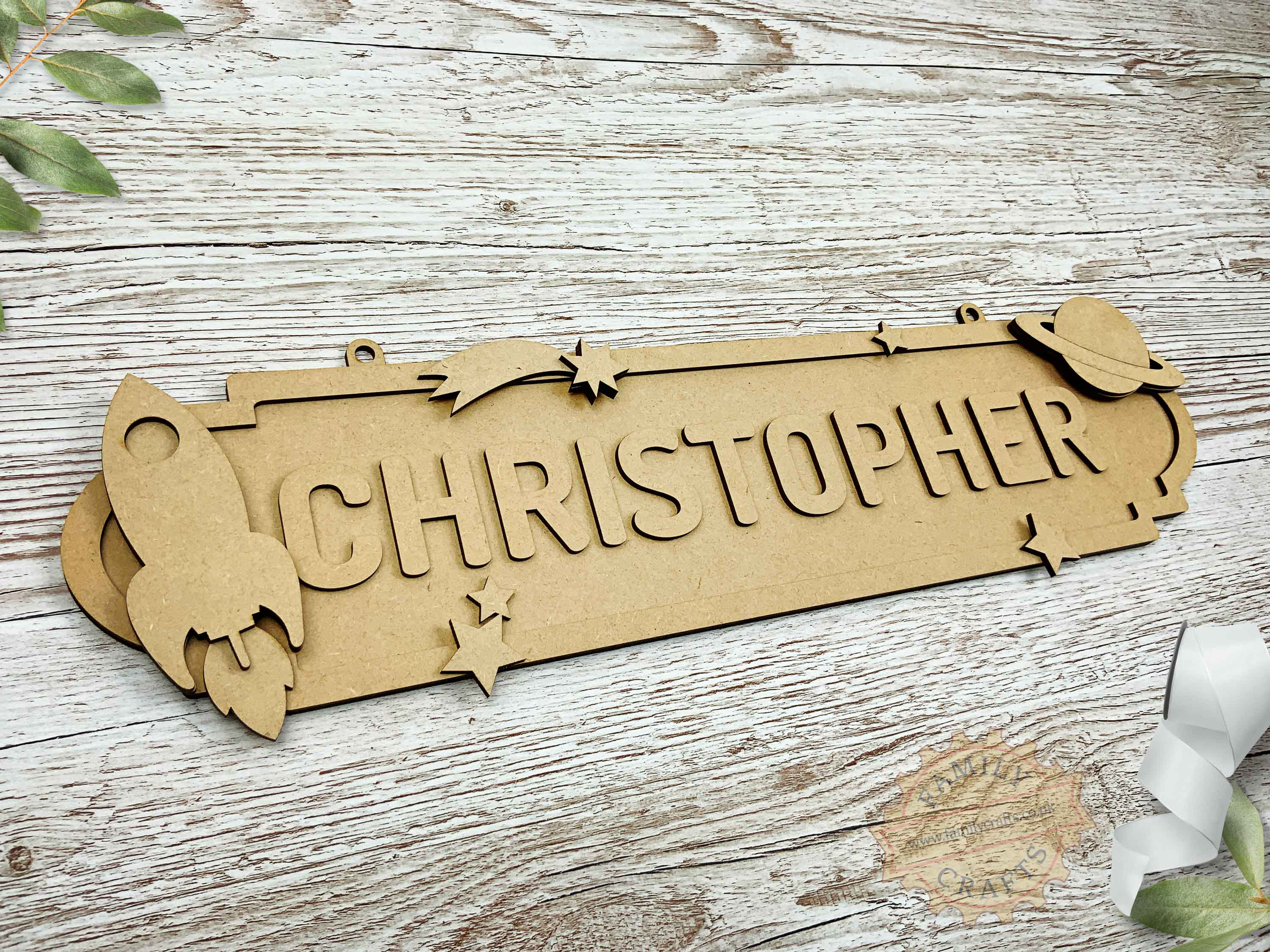 Outer Space Themed Name Sign 12 Characters View Left