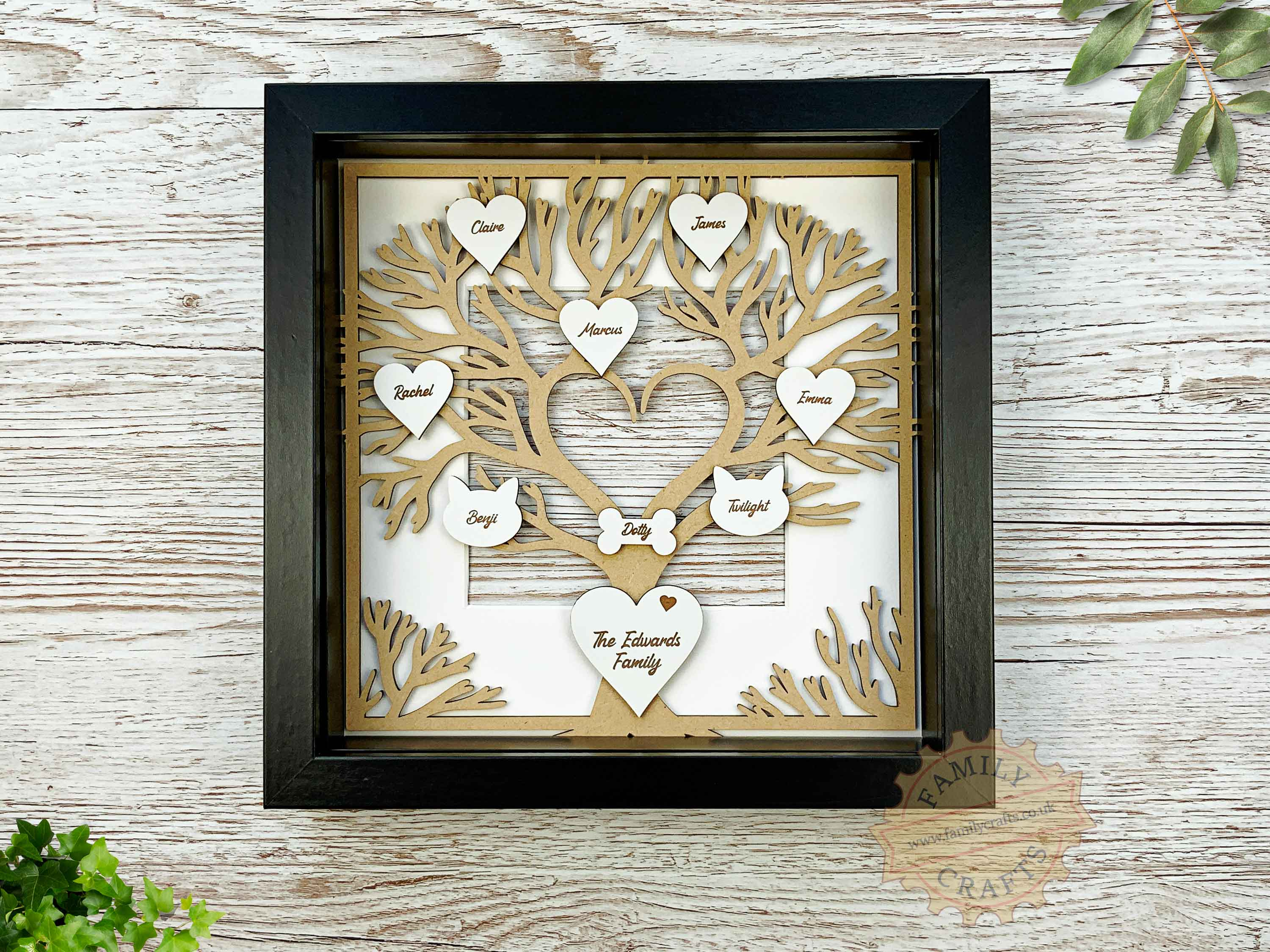 heart branch family tree box frame insert with engraved hearts script font in box frame
