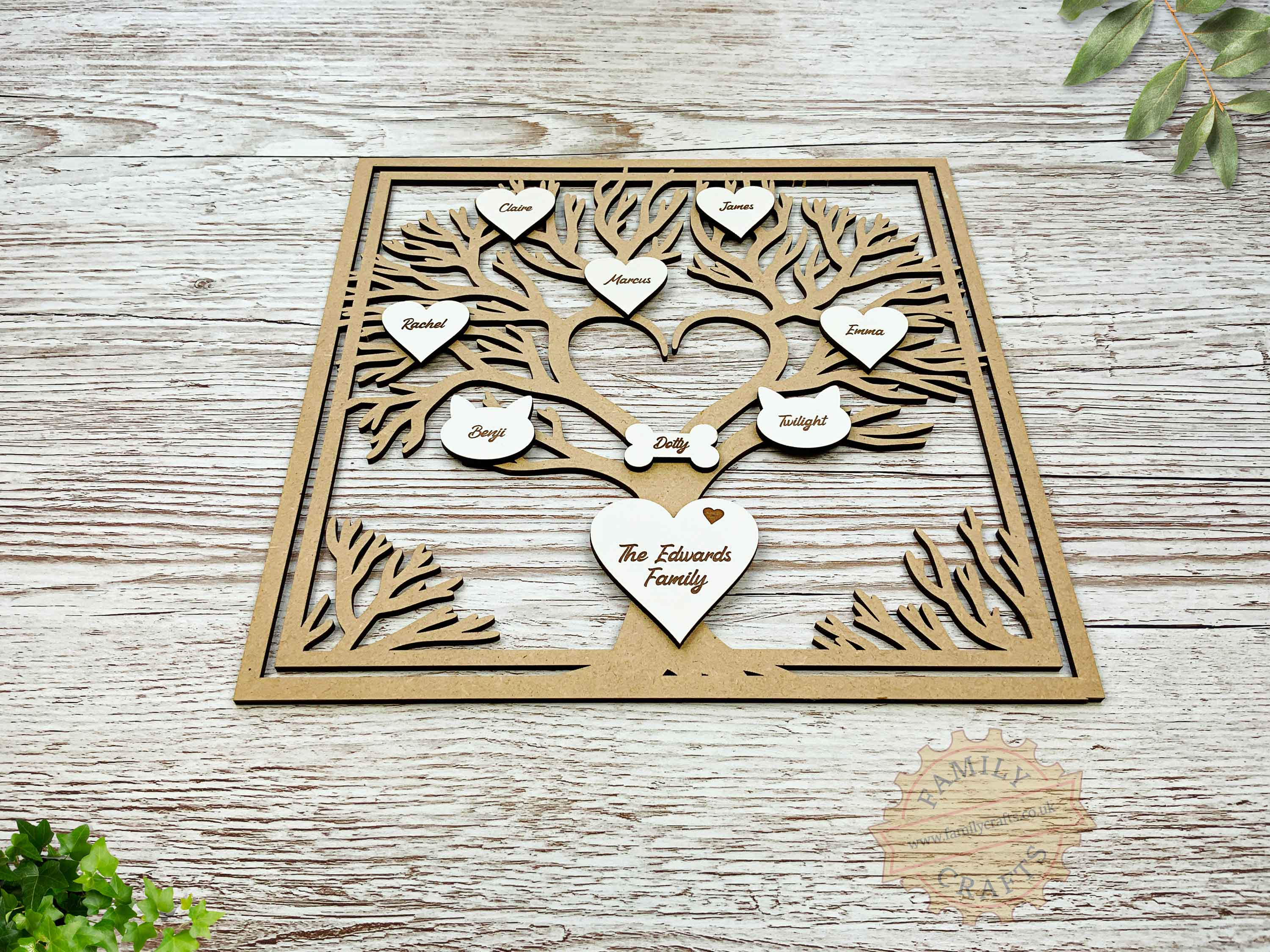 heart branch family tree box frame insert with engraved hearts script font view front