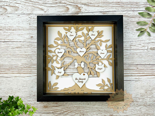 rustic family tree box frame insert with engraved hearts script font in box frame