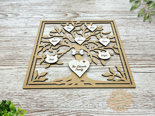 rustic family tree box frame insert with engraved hearts script font view front