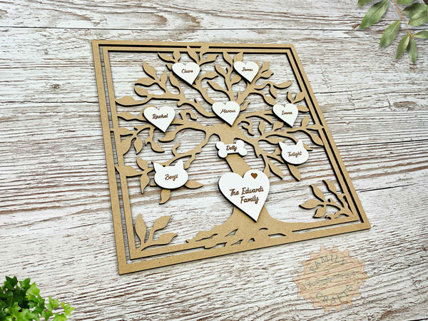 rustic family tree box frame insert with engraved hearts script font view left