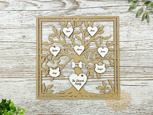 rustic family tree box frame insert with engraved hearts script font