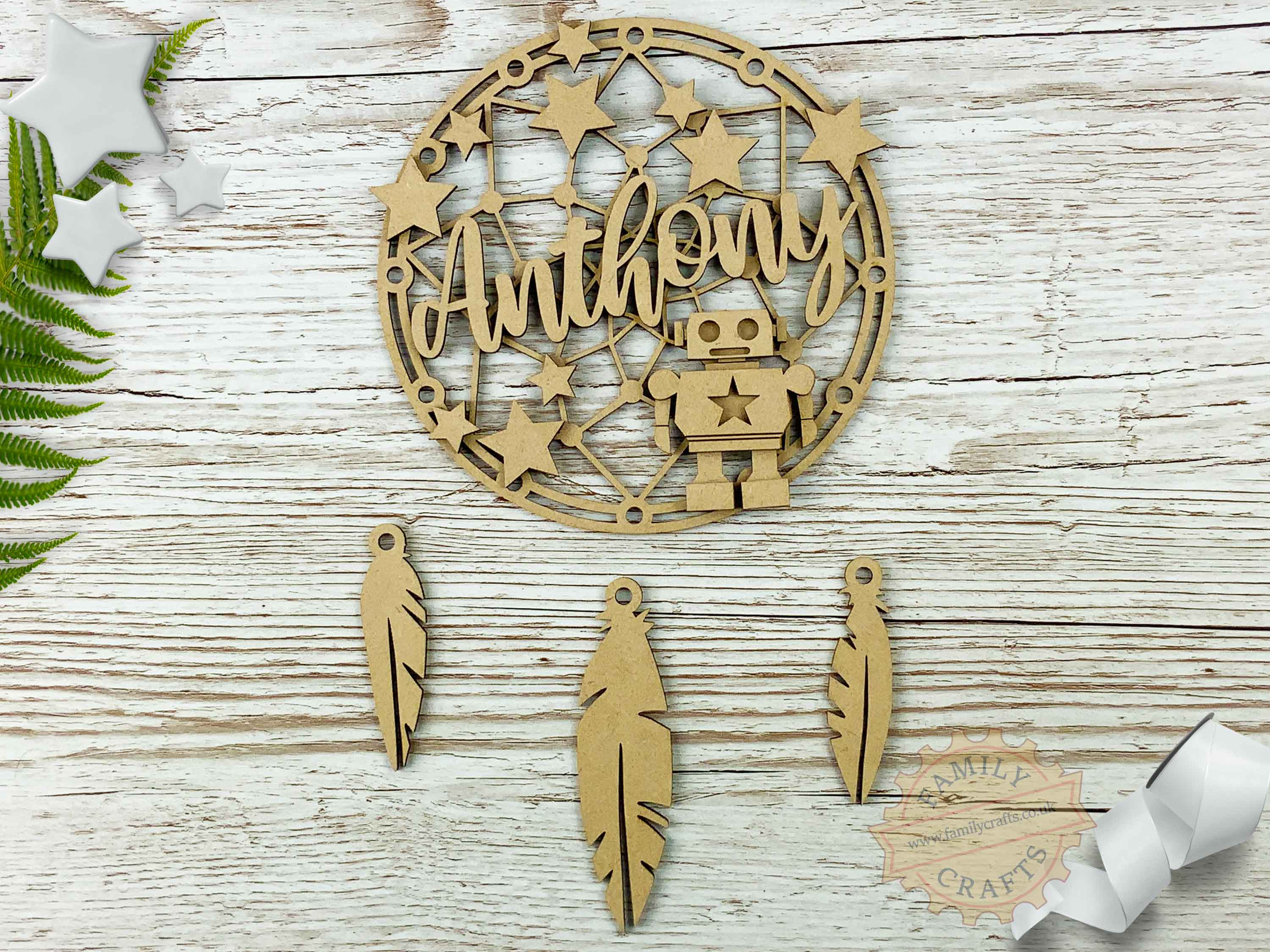 Kids Bedroom Dream Catcher, Robot Themed Name Dreamcatcher