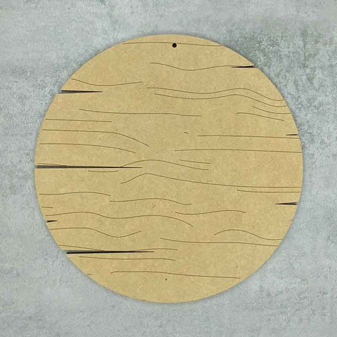 round cracked wood sign with wood grain effect
