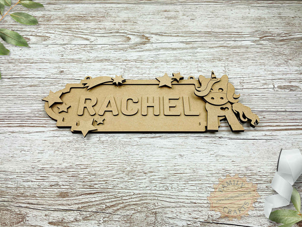 personalised unicorn name sign 6 characters