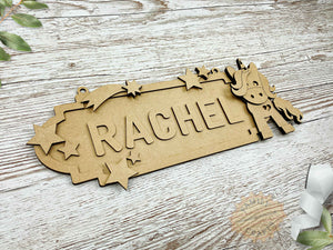 personalised unicorn name sign 6 characters view left