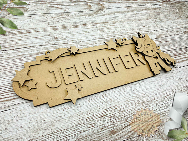personalised unicorn name sign 8 characters view left