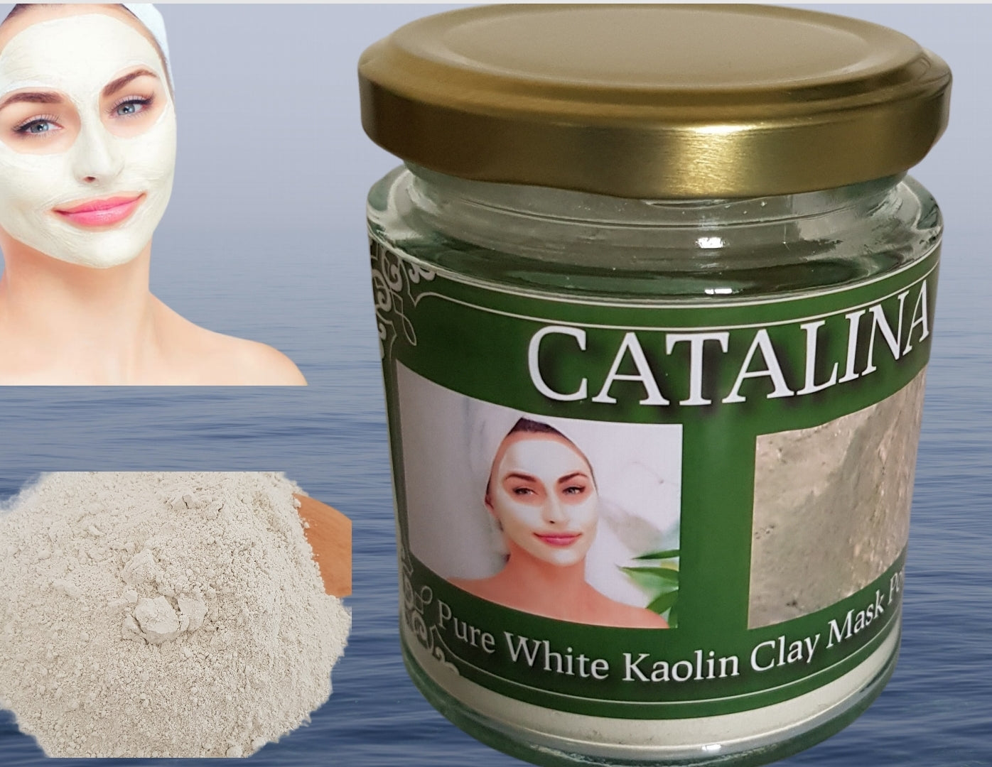 CATALINA Pure White Kaolin Clay Powder for Face Mask  Hair and Body External Use Only