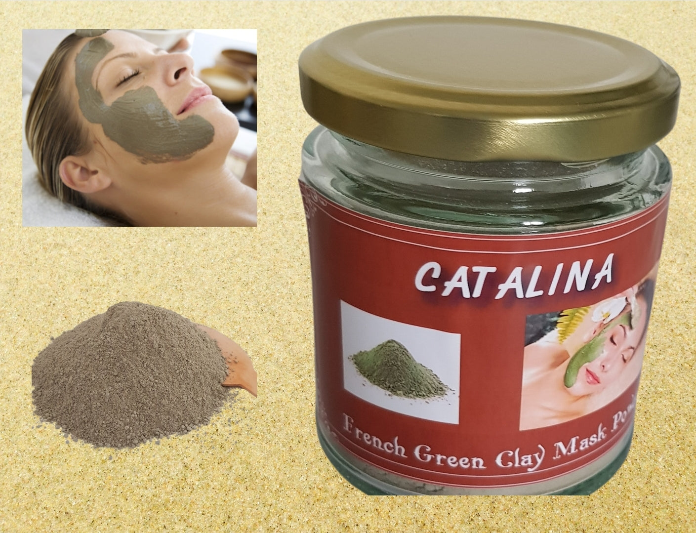 CATALINA French Green Clay Powder for Face Mask Hair and Body External Use only