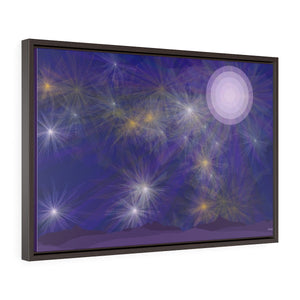"GenArt ""It's a Blue Starry Night"" Horizontal Framed Premium Gallery Wrap Canvas"