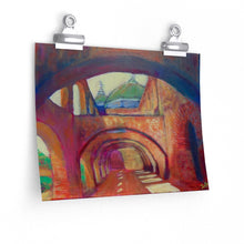 "Load image into Gallery viewer, ""San Jose Mission, San Antonio, Tx."" Premium Matte horizontal poster of original acrylic painting"