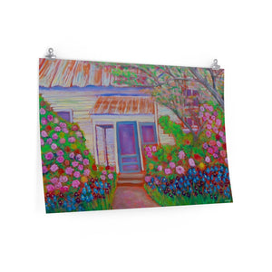 """Blue Door with Roses near Brenham, Tx."" Premium Matte horizontal poster print of original acrylic painting"