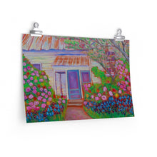 "Load image into Gallery viewer, ""Blue Door with Roses near Brenham, Tx."" Premium Matte horizontal poster print of original acrylic painting"